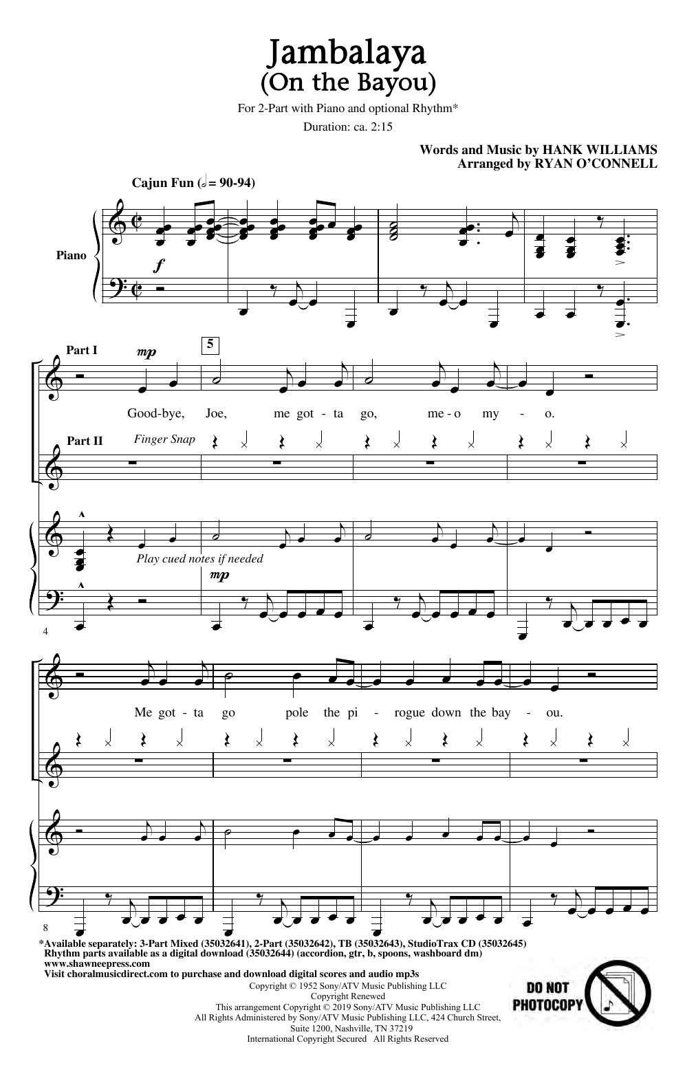 Jambalaya (On The Bayou) (arr. Ryan O'Connell) (2-Part Choir)