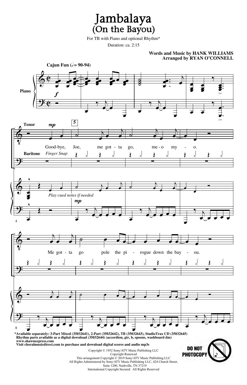 Jambalaya (On The Bayou) (arr. Ryan O'Connell) (TB Choir)