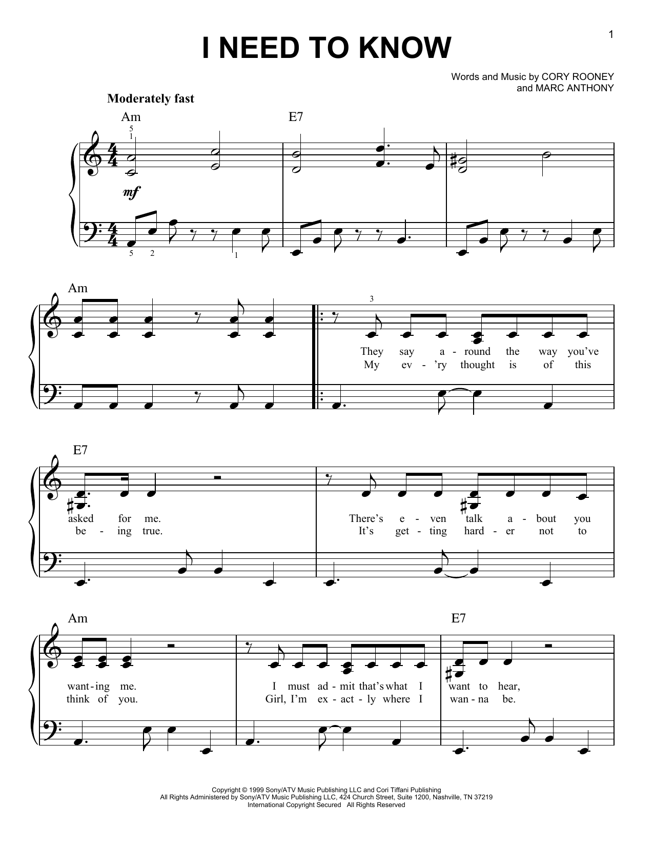 I Need To Know (Easy Piano)