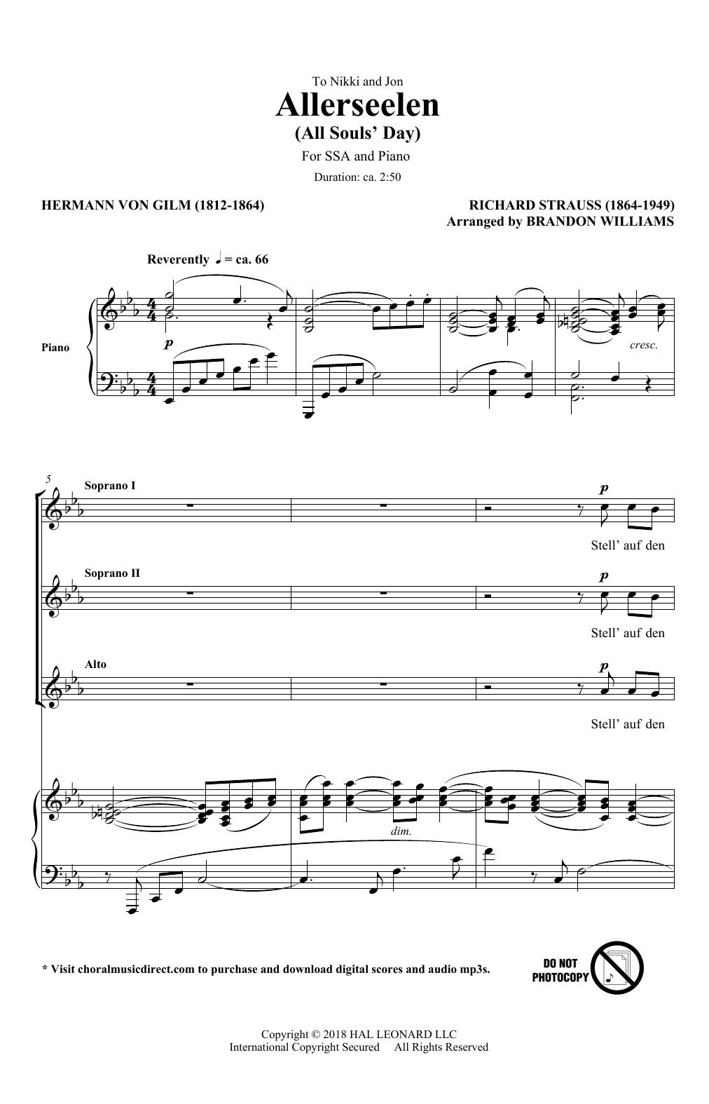 Allerseelen (arr. Brandon Williams) (SSA Choir)