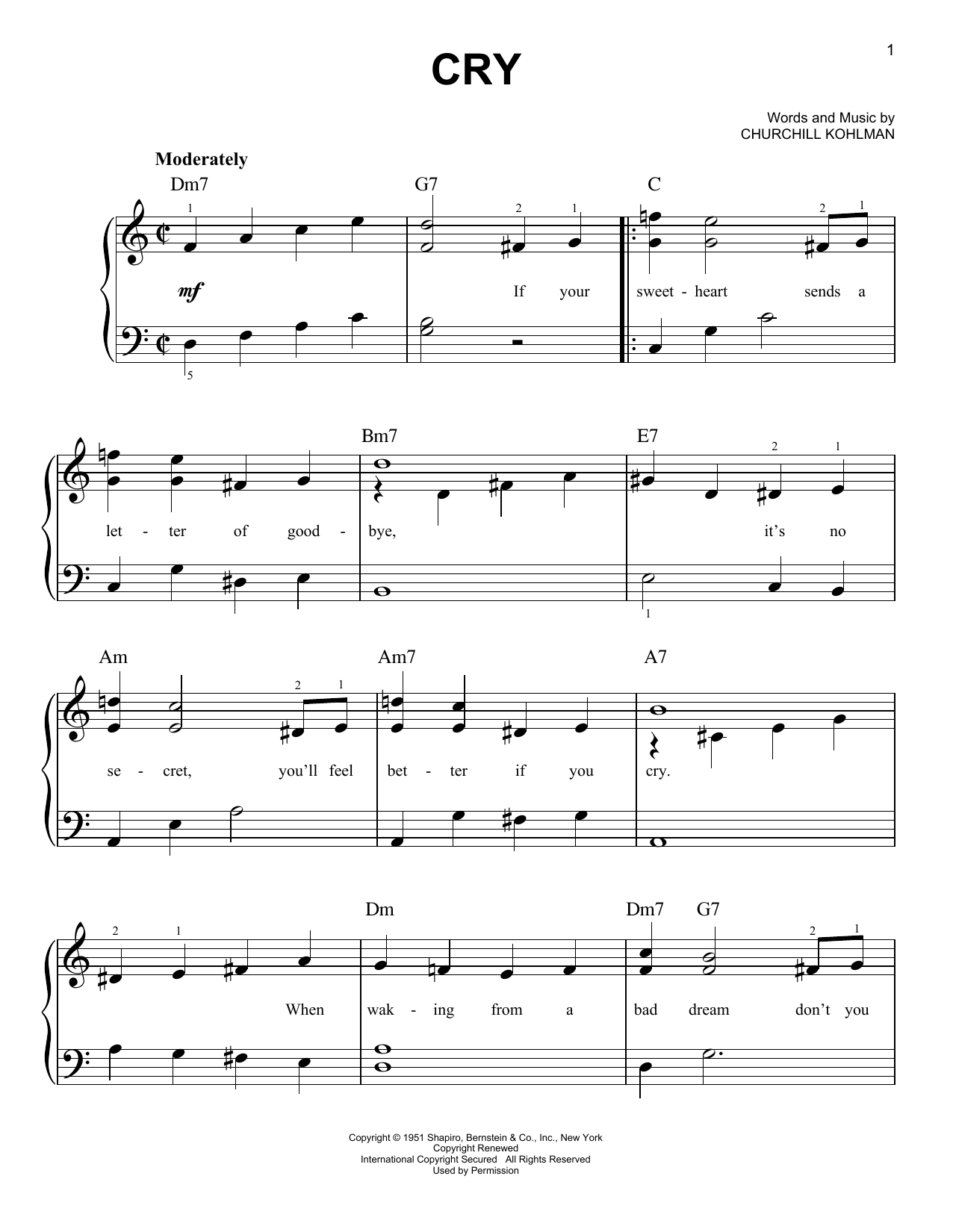 Cry (Easy Piano)