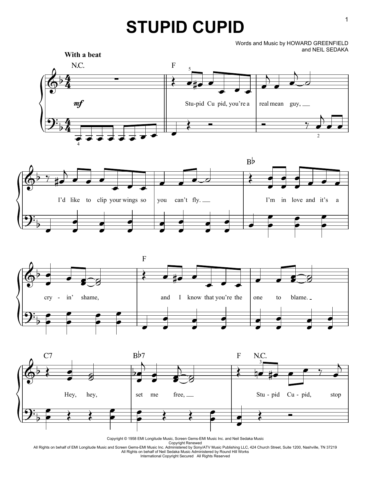 Stupid Cupid (Easy Piano)
