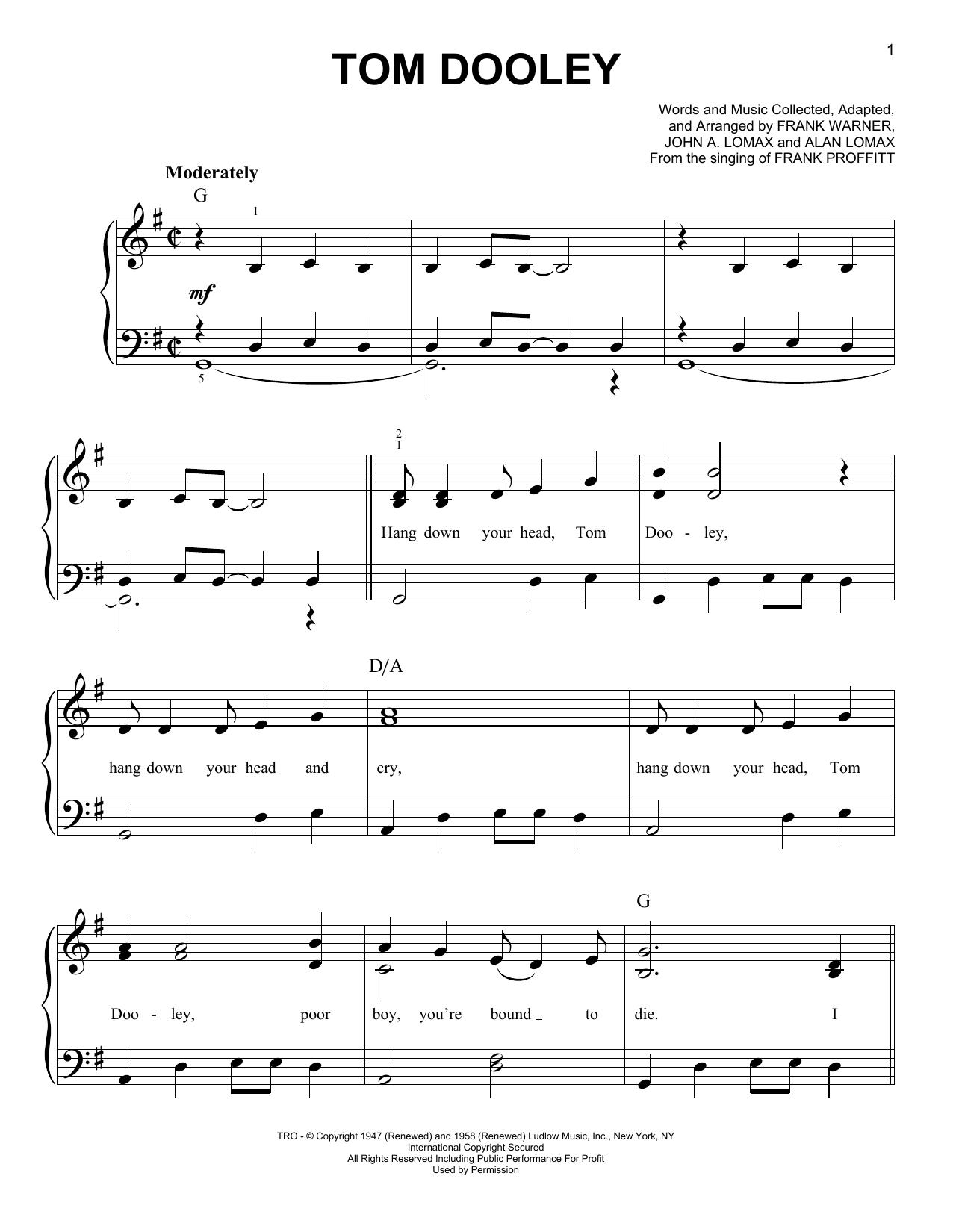 Tom Dooley (Easy Piano)