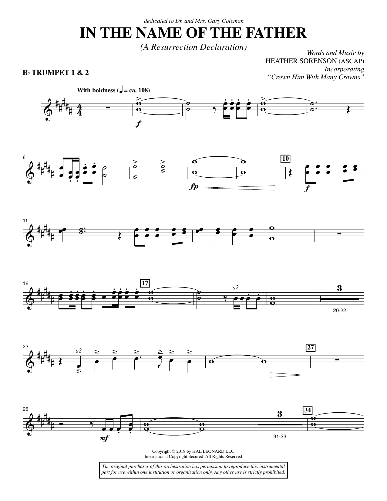 In the Name of the Father (A Resurrection Declaration) - Bb Trumpet 1,2 (Choir Instrumental Pak)