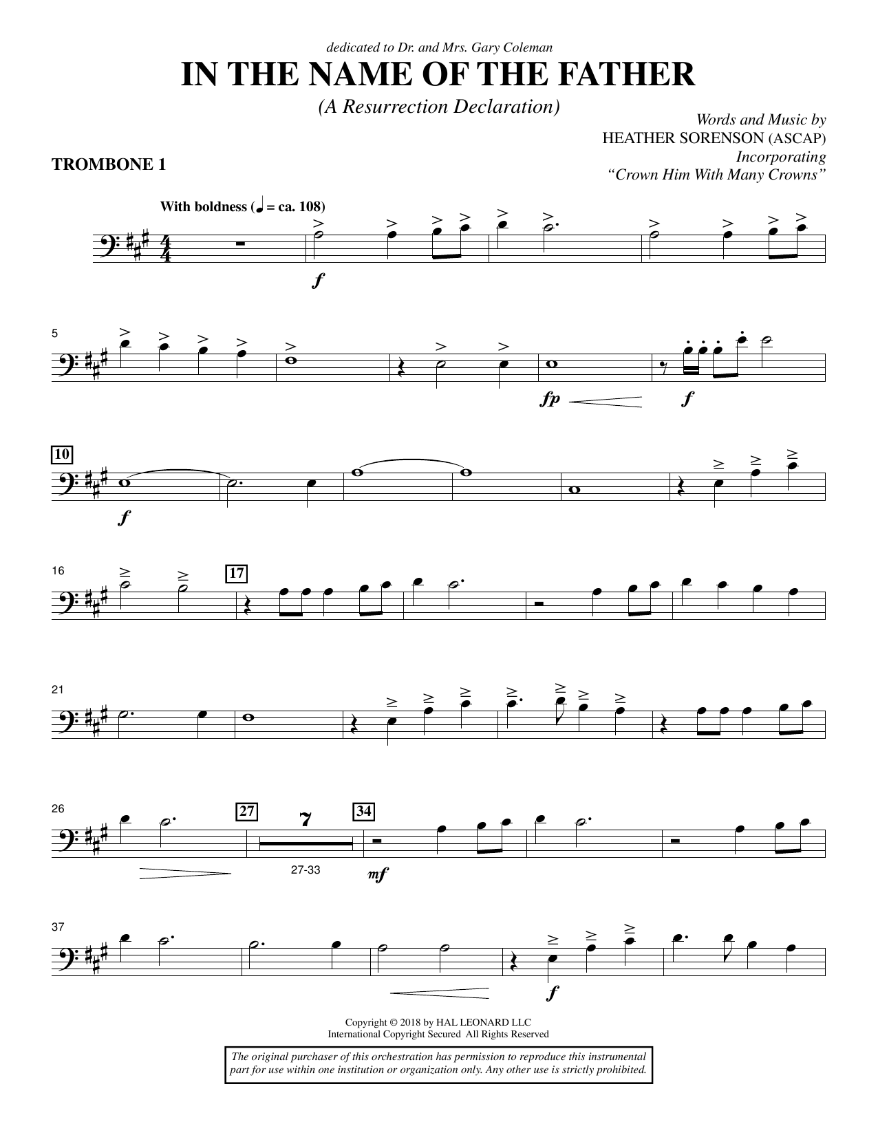 In the Name of the Father (A Resurrection Declaration) - Trombone 1 (Choir Instrumental Pak)
