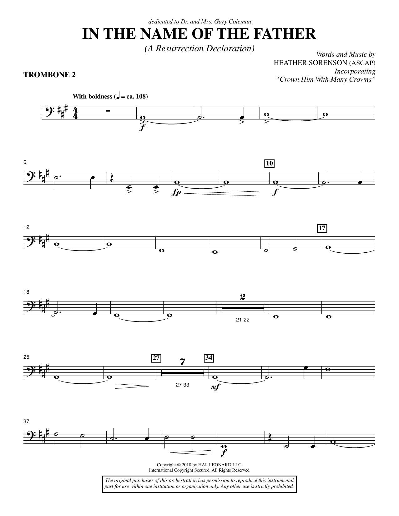In the Name of the Father (A Resurrection Declaration) - Trombone 2 (Choir Instrumental Pak)