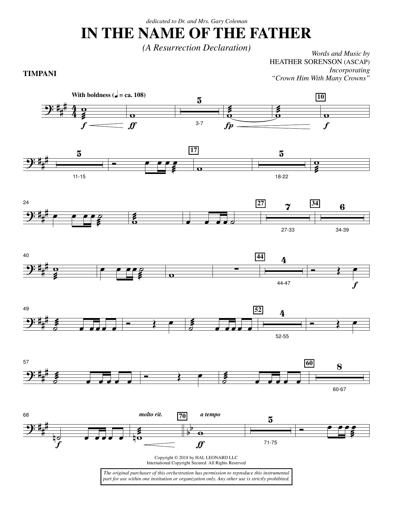 In the Name of the Father (A Resurrection Declaration) - Timpani (Choir Instrumental Pak)