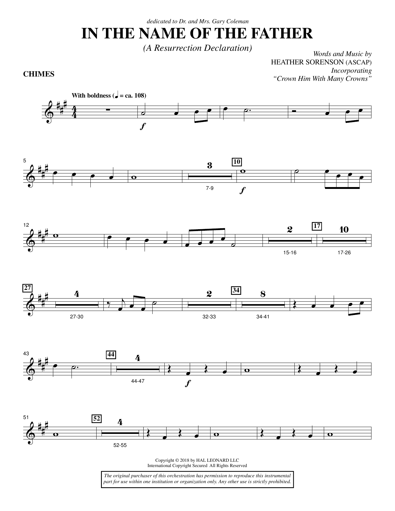 In the Name of the Father (A Resurrection Declaration) - Chimes (Choir Instrumental Pak)