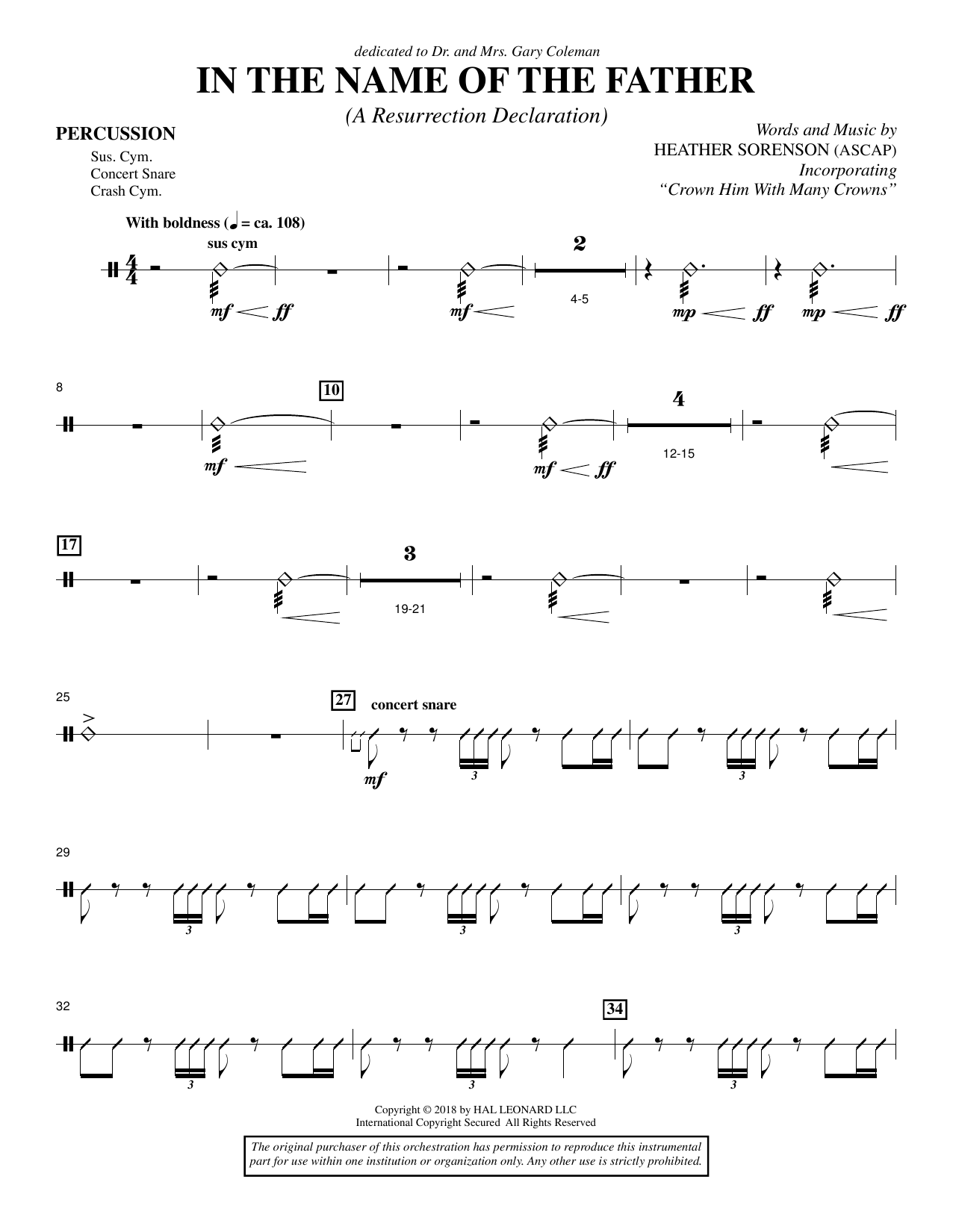 In the Name of the Father (A Resurrection Declaration) - Percussion (Choir Instrumental Pak)