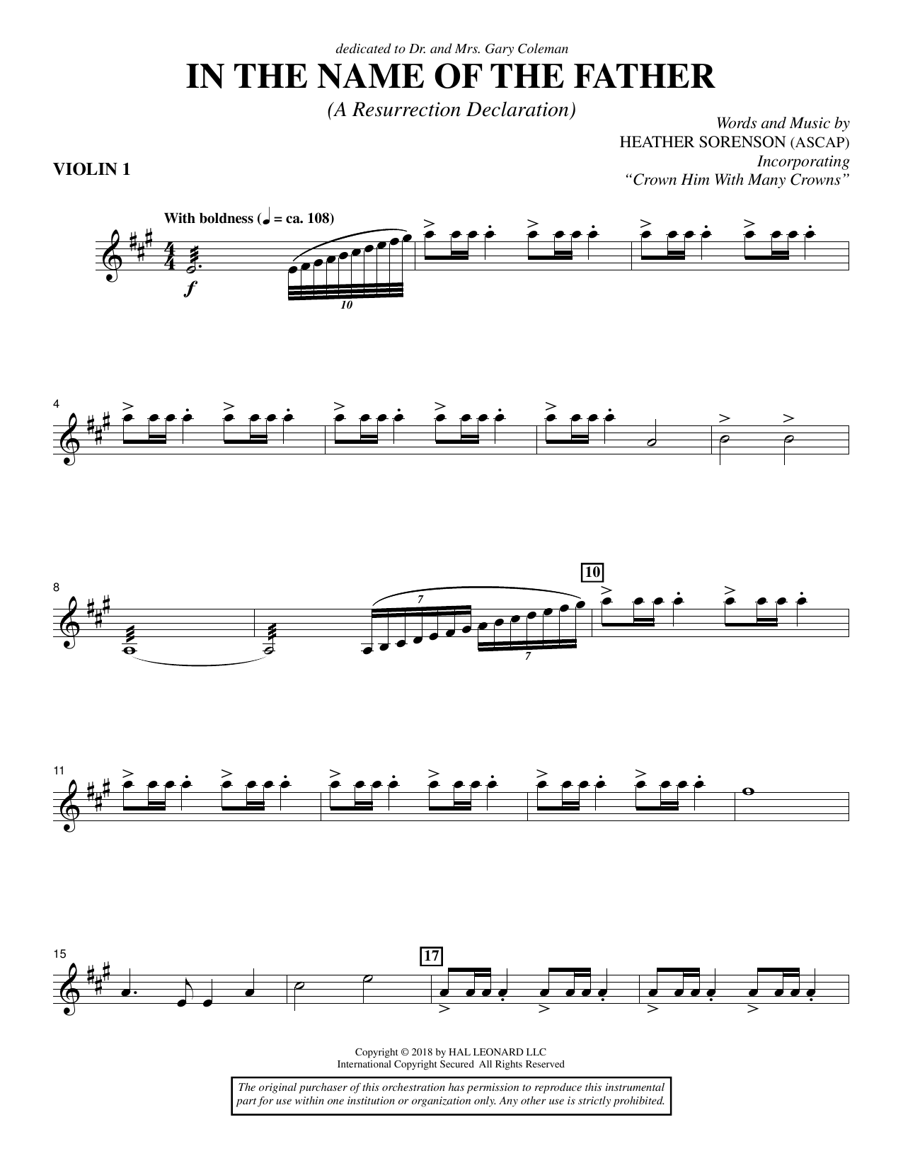 In the Name of the Father (A Resurrection Declaration) - Violin 1 (Choir Instrumental Pak)