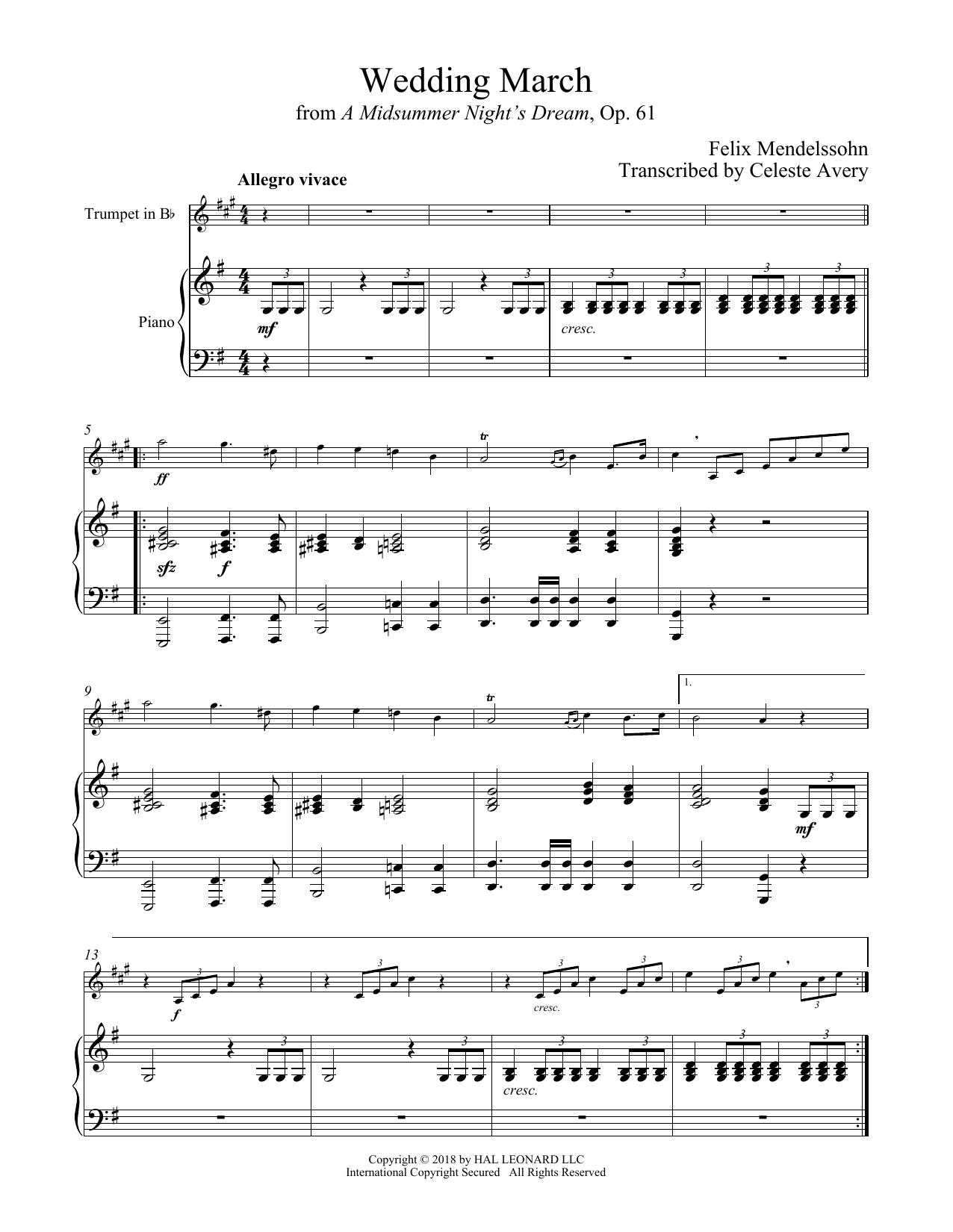 Wedding March (Trumpet and Piano)