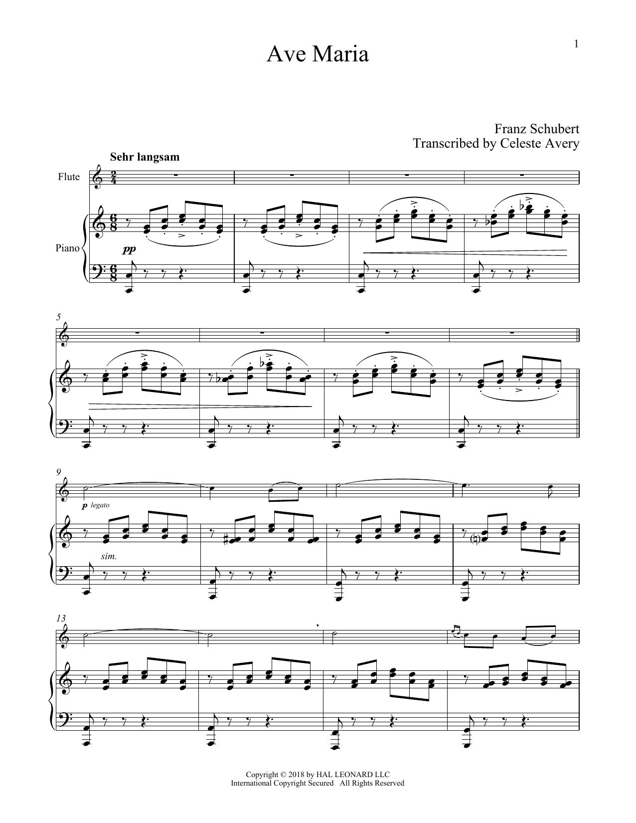 Ave Maria, Op. 52, No. 6 (Flute and Piano)