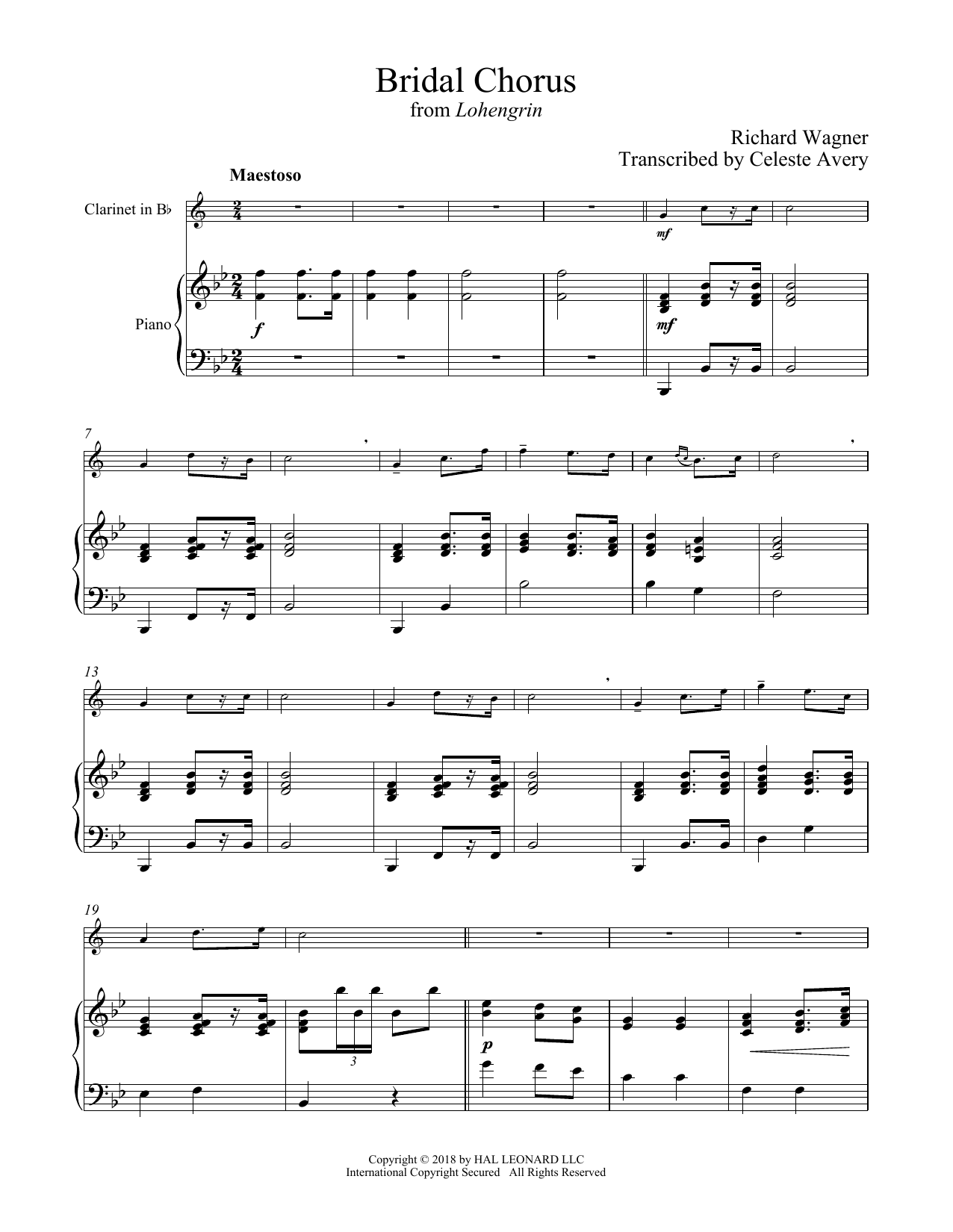 Wedding March (Bridal Chorus) (Clarinet and Piano)