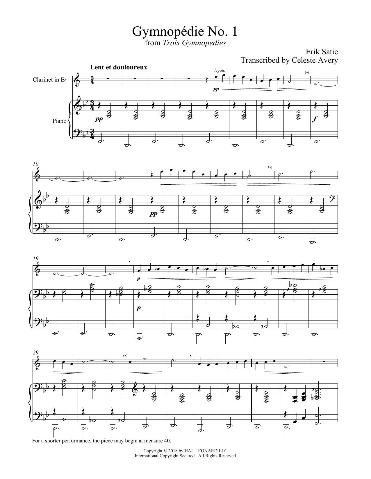 Gymnopedie No. 1 (Clarinet and Piano)