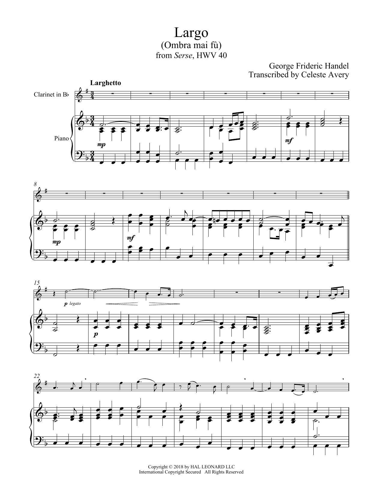 Ombra Mai Fu (Clarinet and Piano)