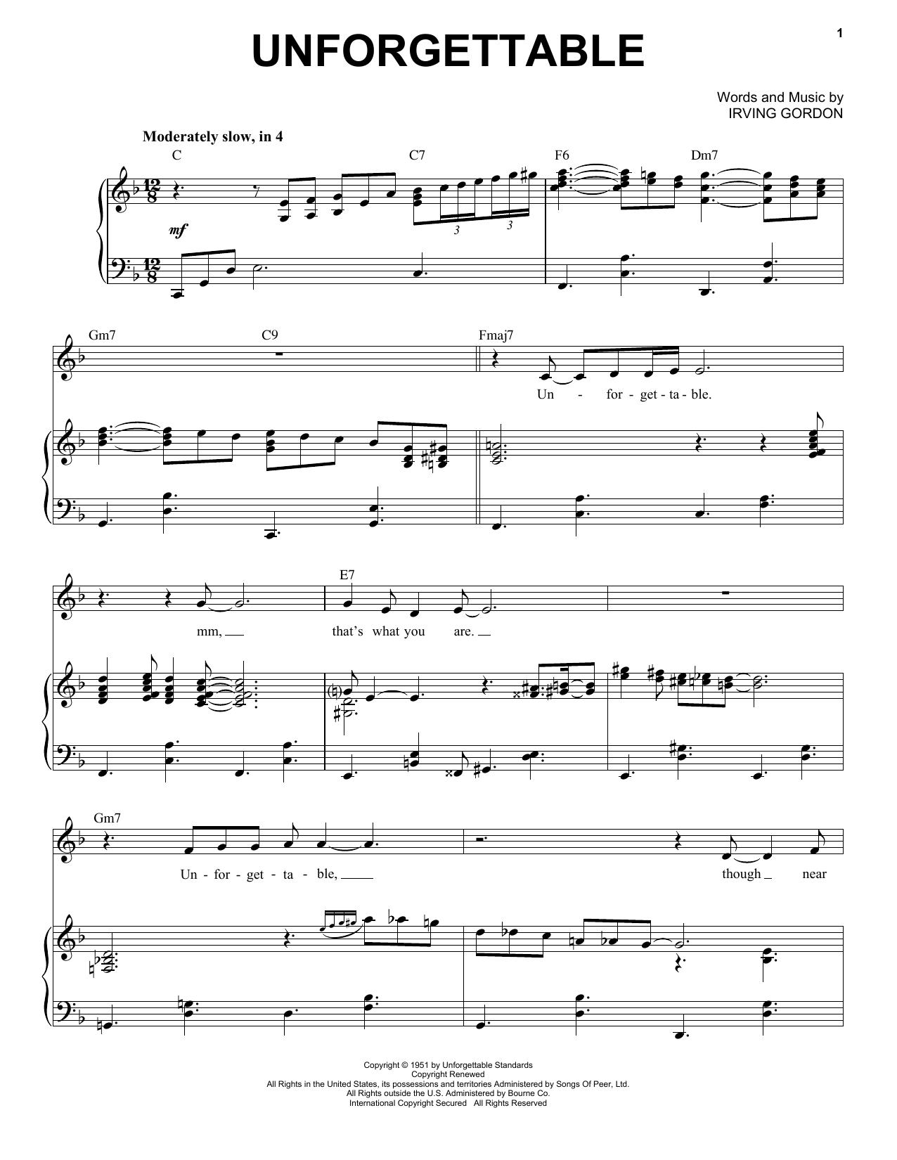 Unforgettable (Piano & Vocal)
