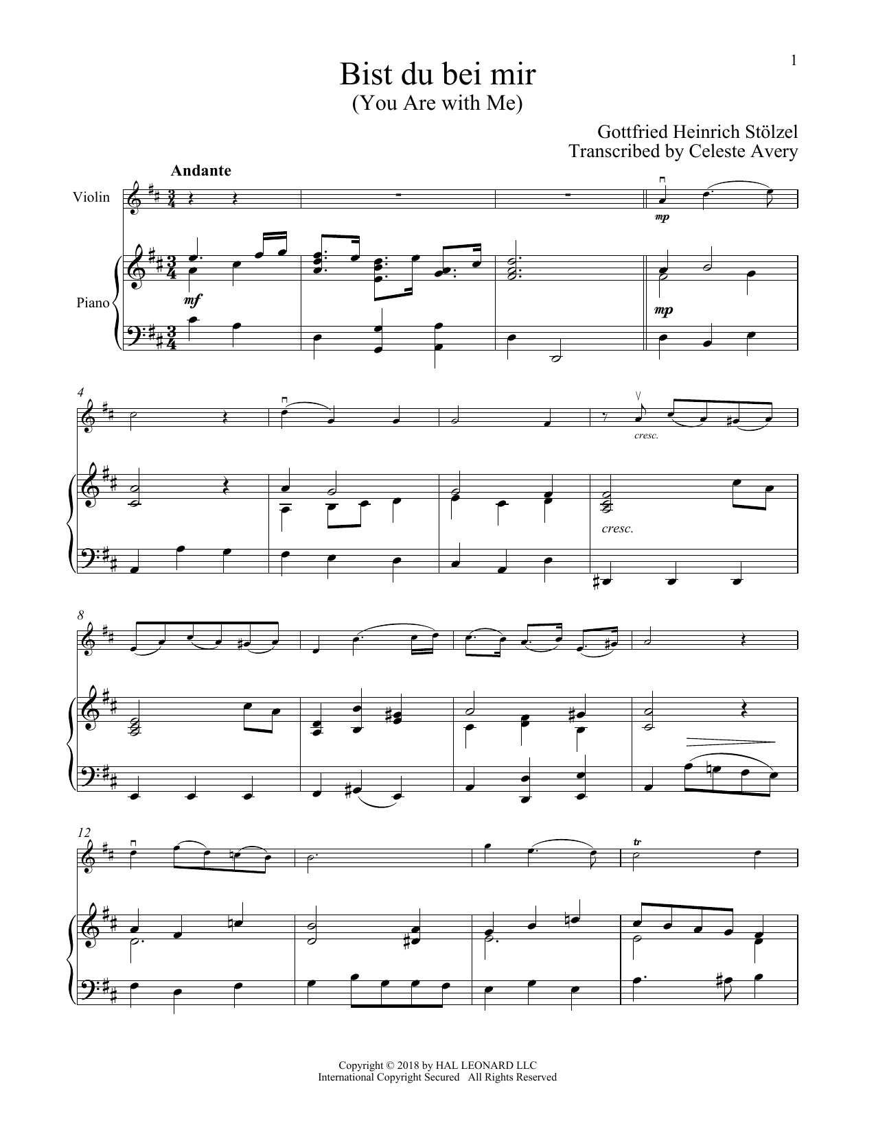 Bist Du Bei Mir You Are With Me By Johann Sebastian Bach French Horn Solo Digital Sheet Music