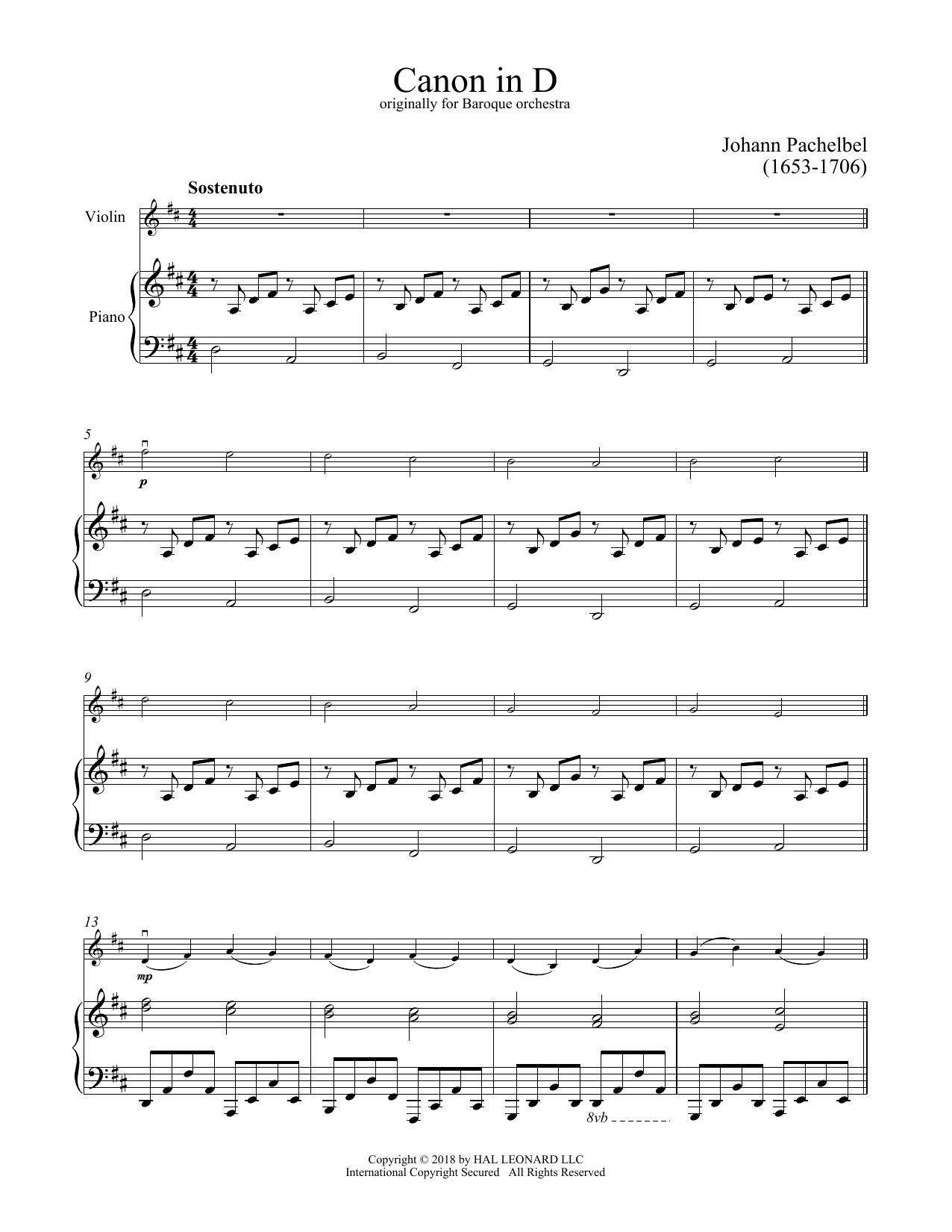 Canon In D (Violin and Piano)