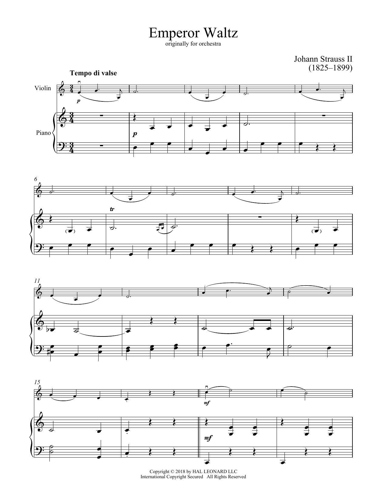 Emperor Waltz, Op. 437 (Violin and Piano)