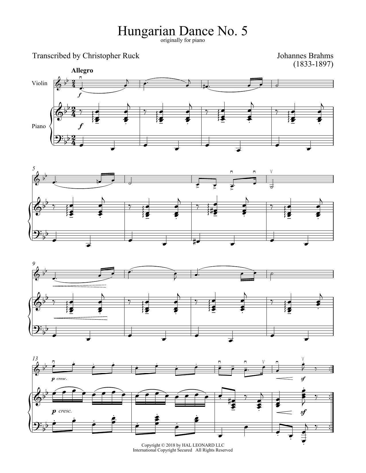 Hungarian Dance No. 5 (Violin and Piano)