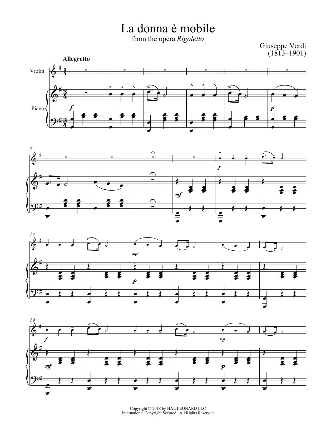La Donna E Mobile (Violin and Piano)