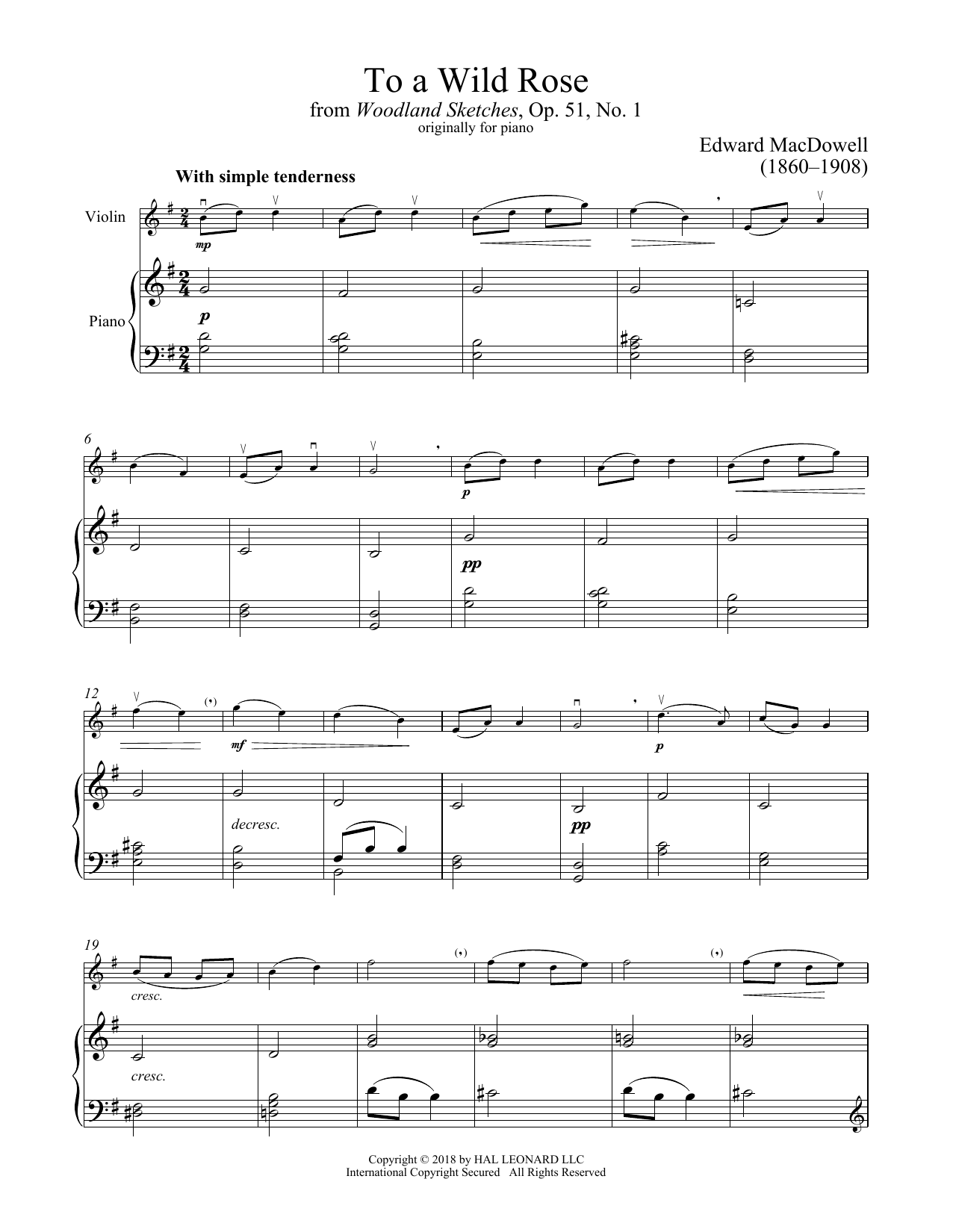 To A Wild Rose, Op. 51, No. 1 (Violin and Piano)
