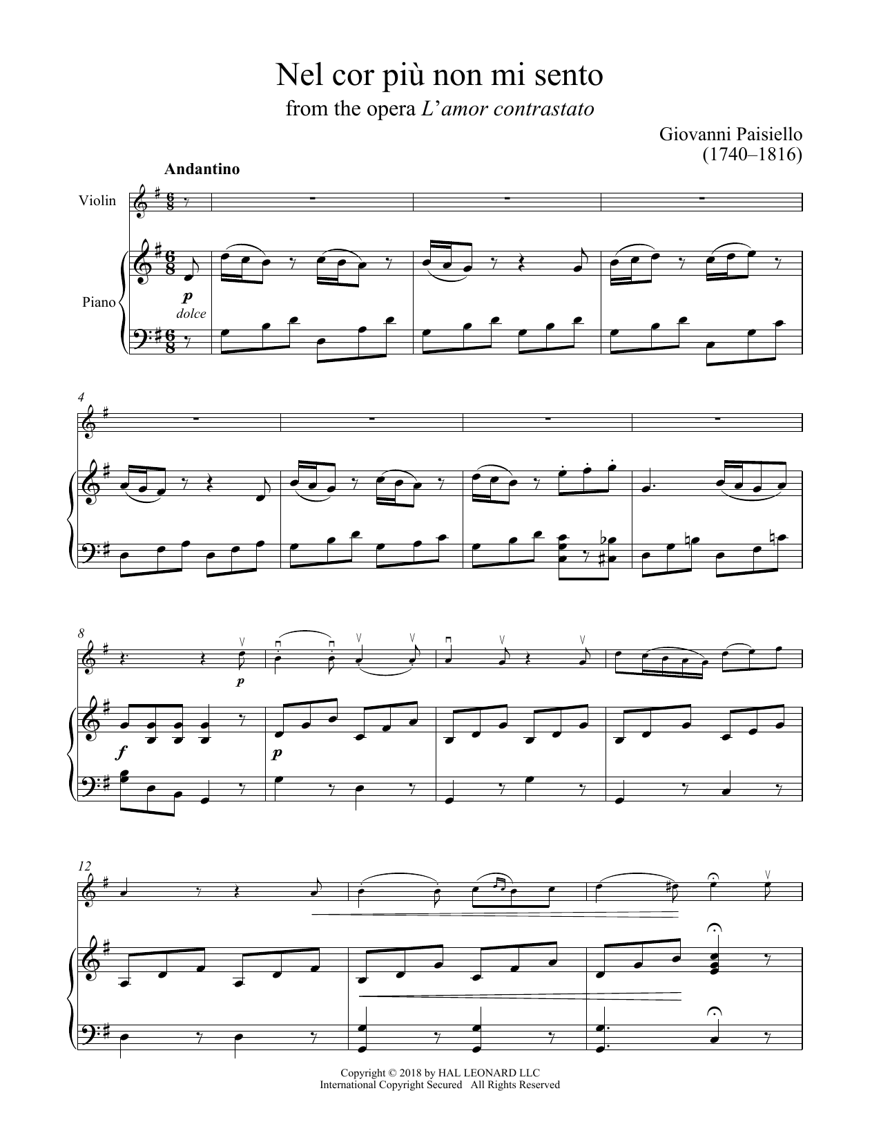 Nel Cor Piu Non Mi Sento (Violin and Piano)