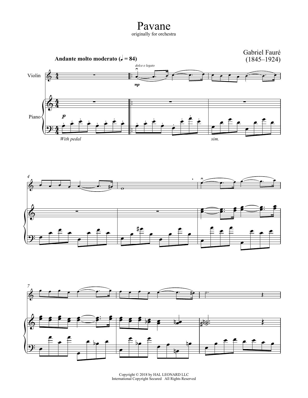Pavane (Violin and Piano)