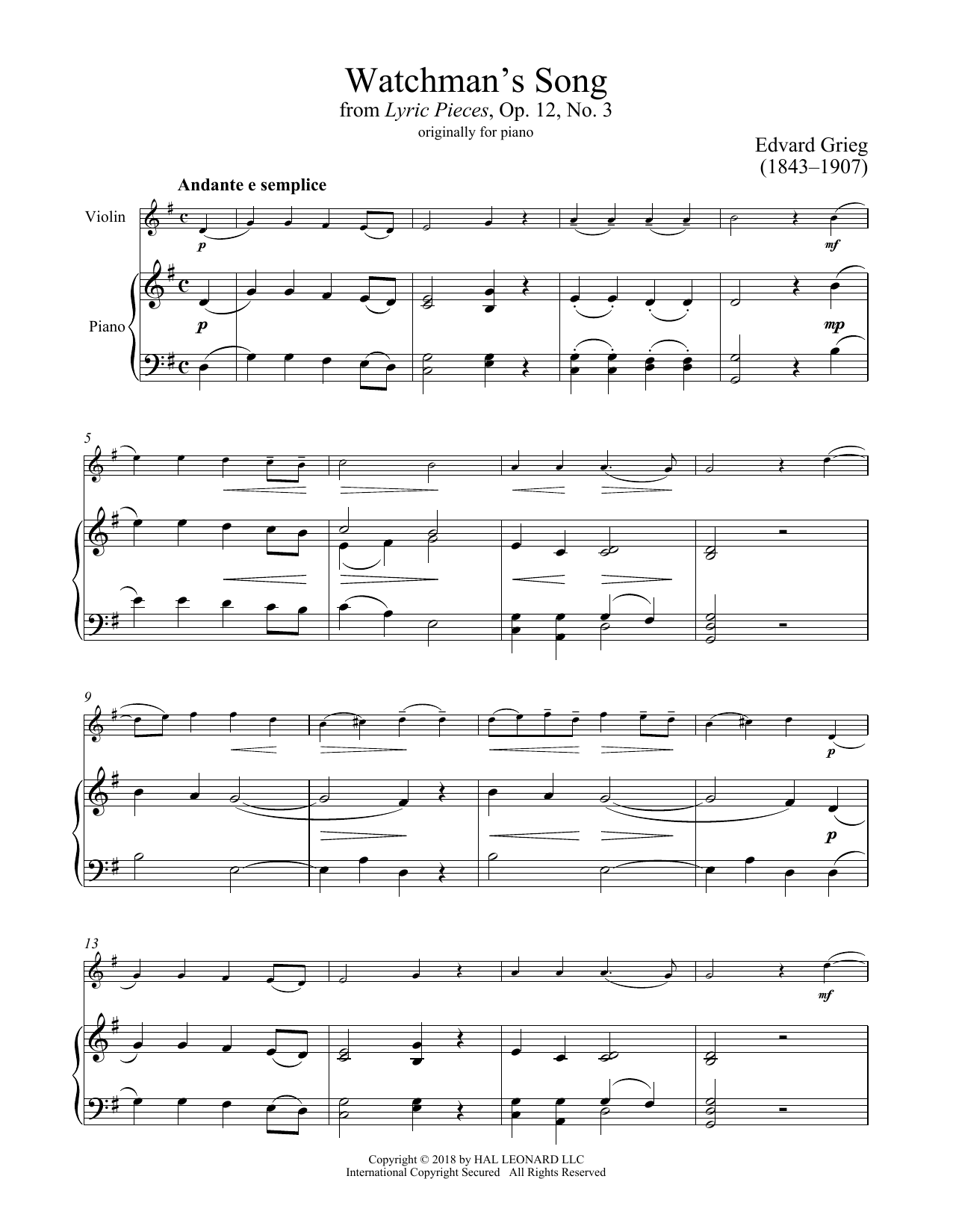 Watchman's Song, Op. 12, No. 3 (Violin and Piano)