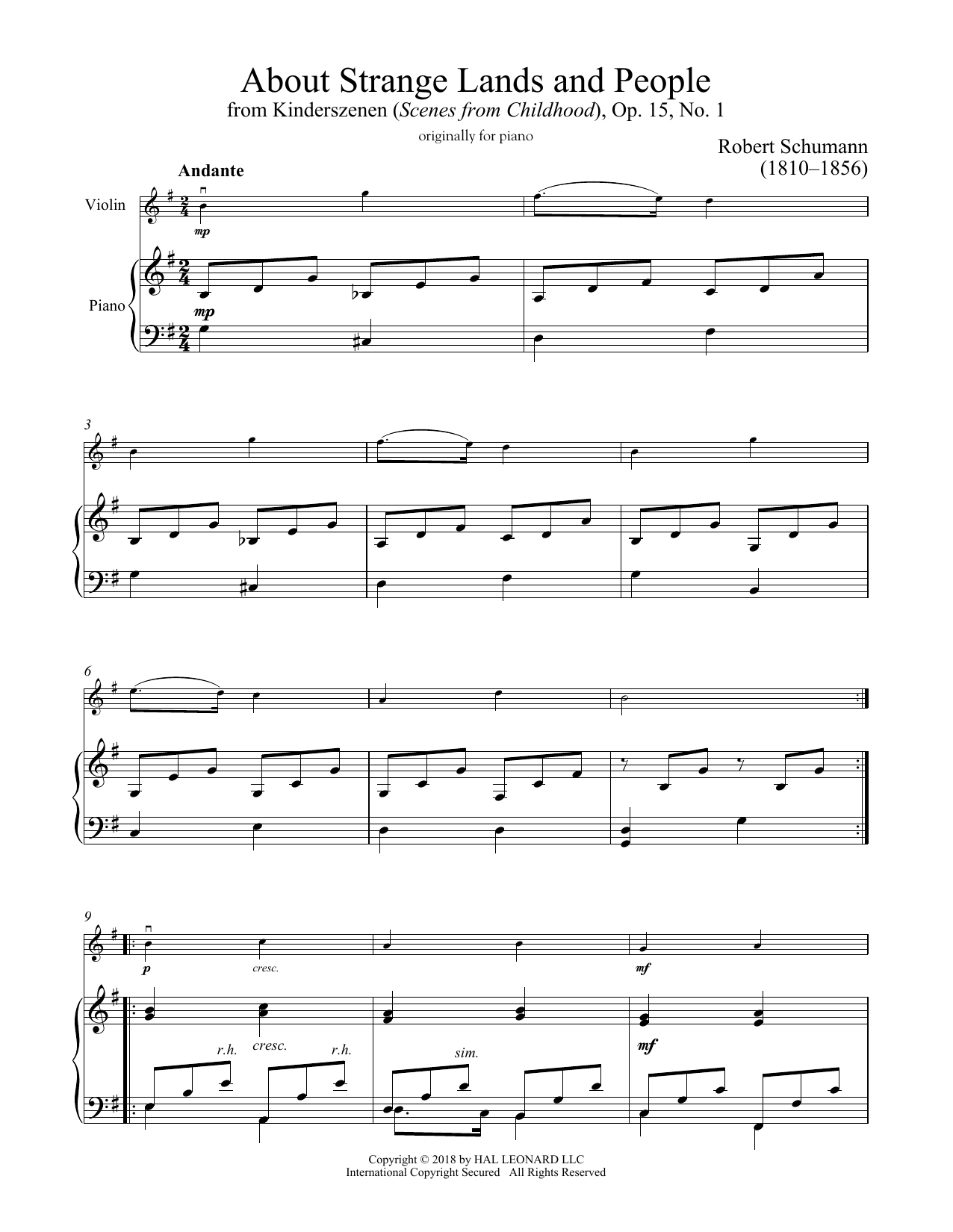 Of Strange Lands And People, Op. 15, No. 1 (Violin and Piano)