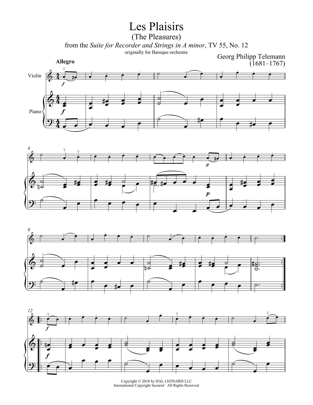 Les Plaisirs (Violin and Piano)