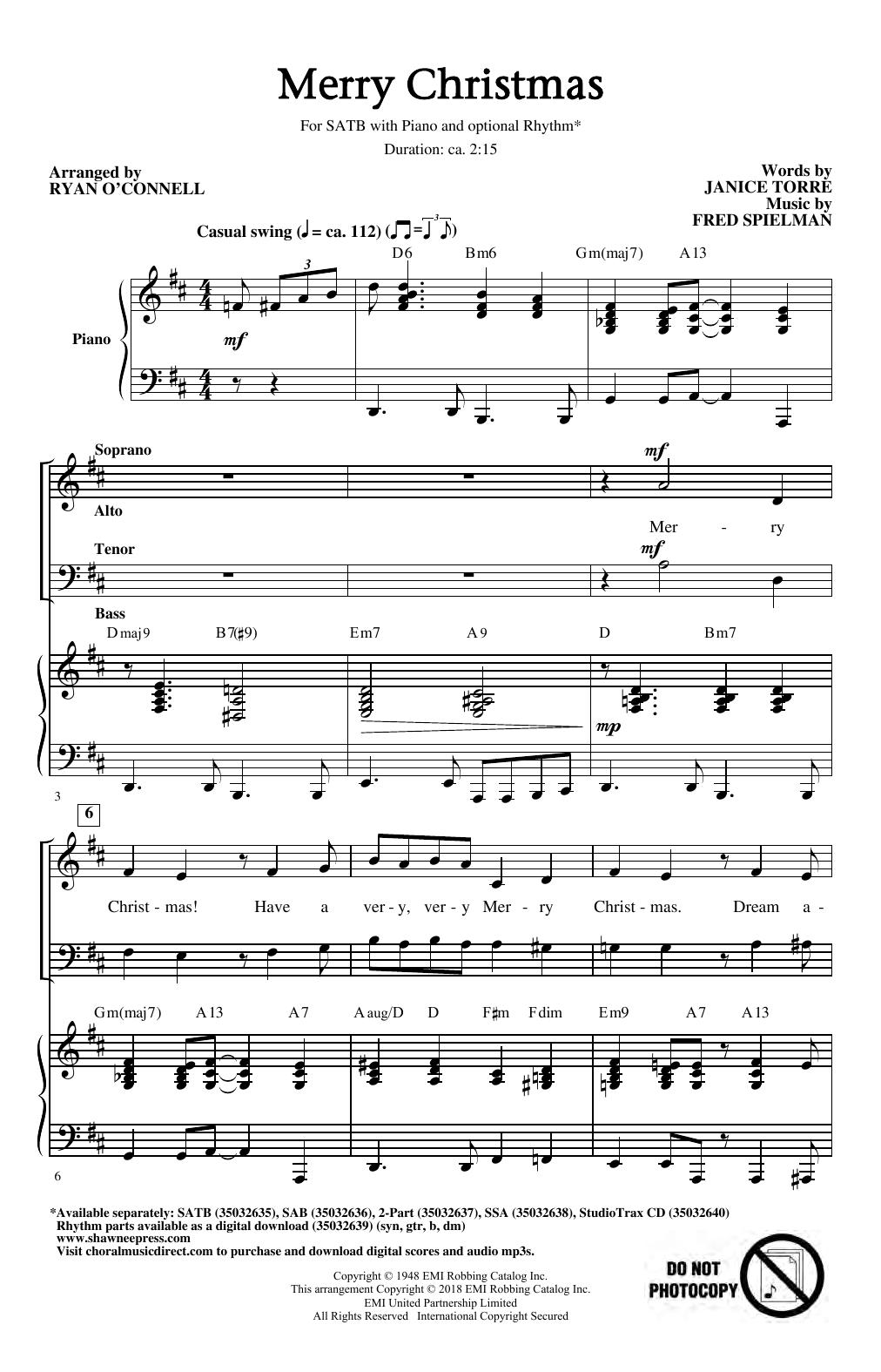 Merry Christmas (arr. Ryan O'Connell) (SATB Choir)
