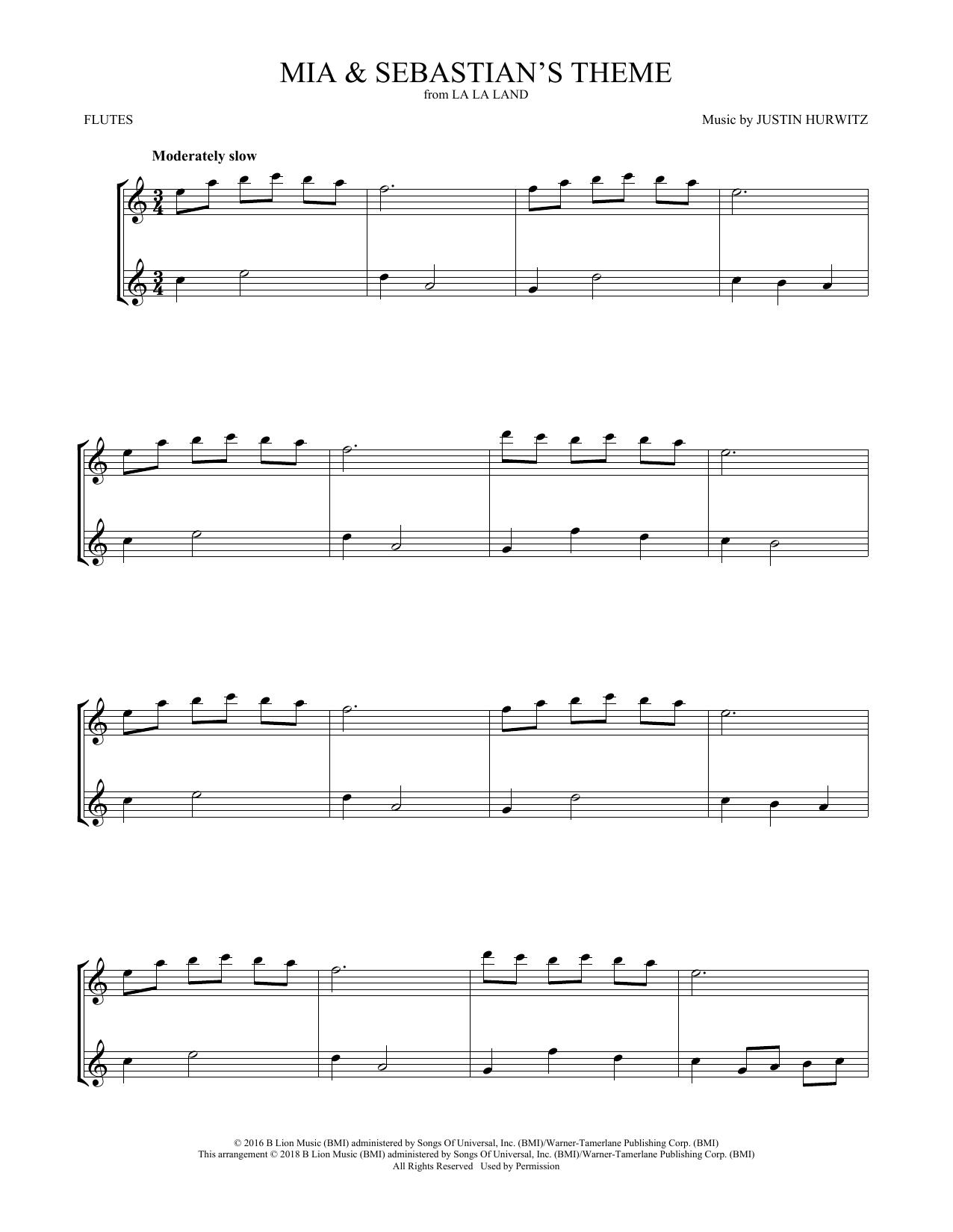 Mia & Sebastian's Theme (from La La Land) (Flute Duet)