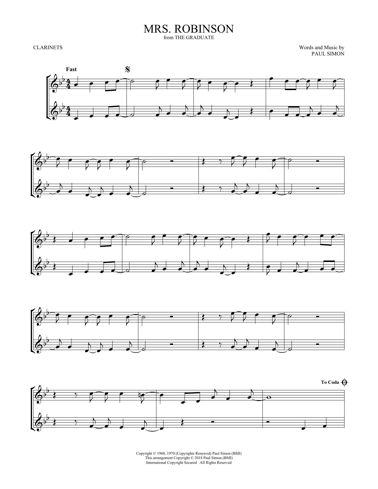 Mrs. Robinson (Clarinet Duet)
