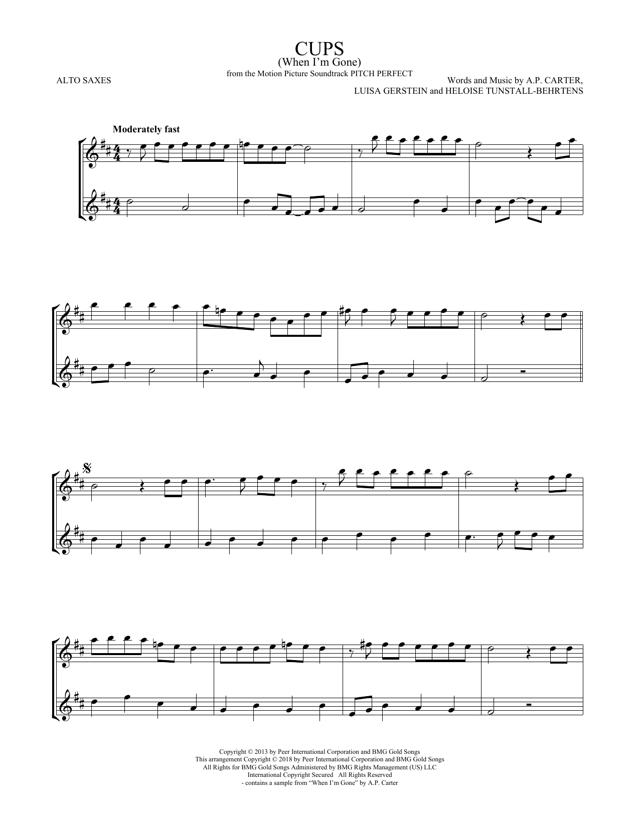Cups (When I'm Gone) (from Pitch Perfect) (Alto Sax Duet)