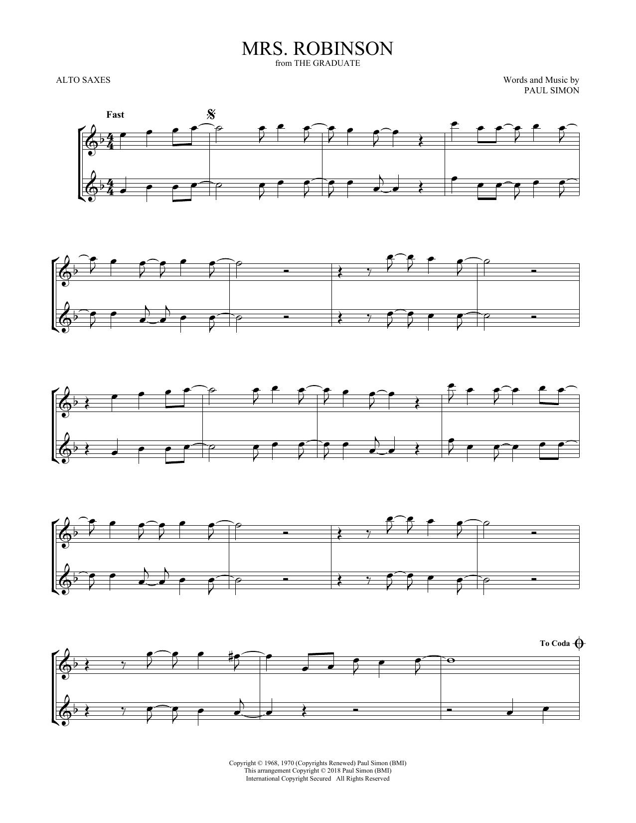 Mrs. Robinson (Alto Sax Duet)