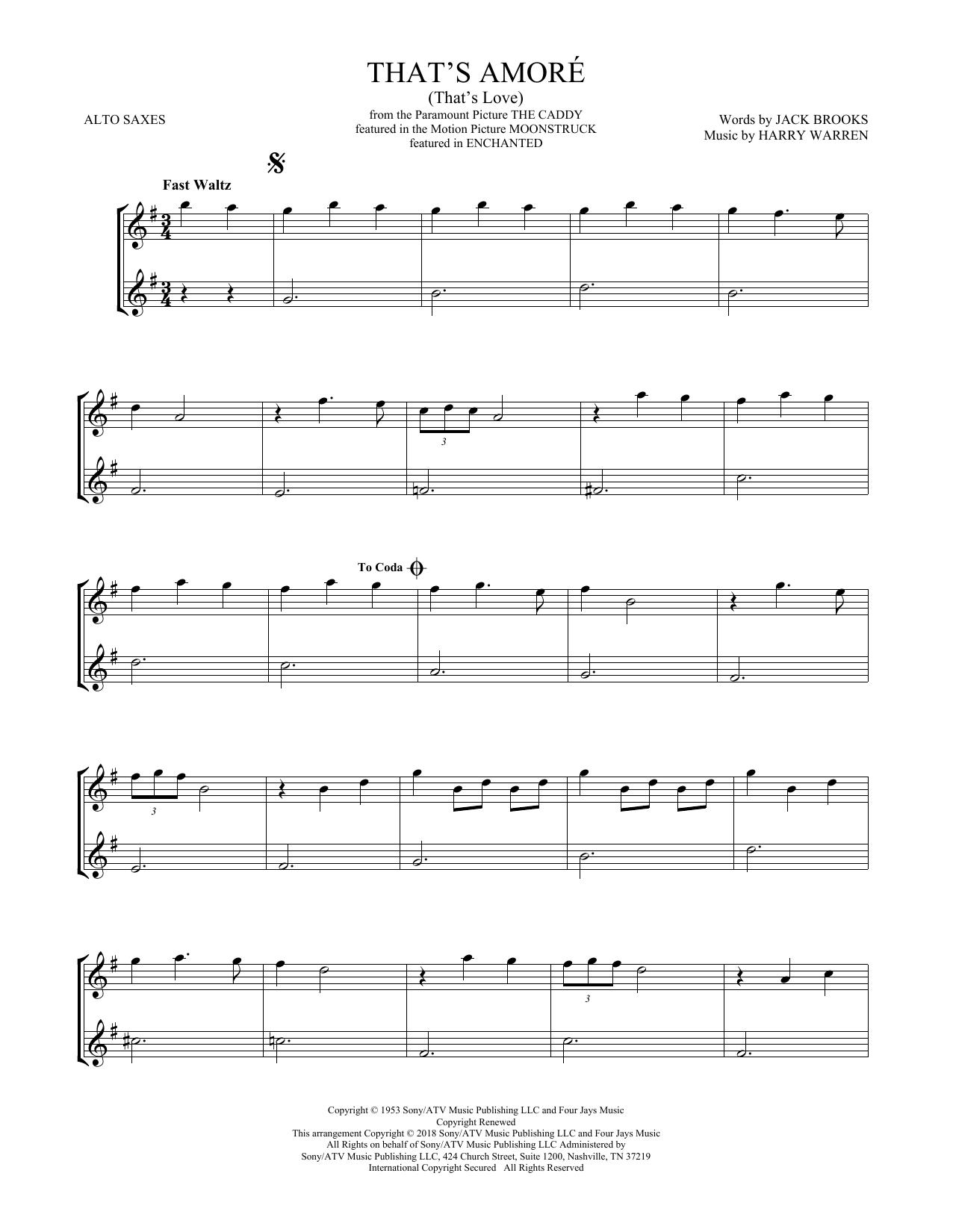 That's Amore (That's Love) (Alto Sax Duet)