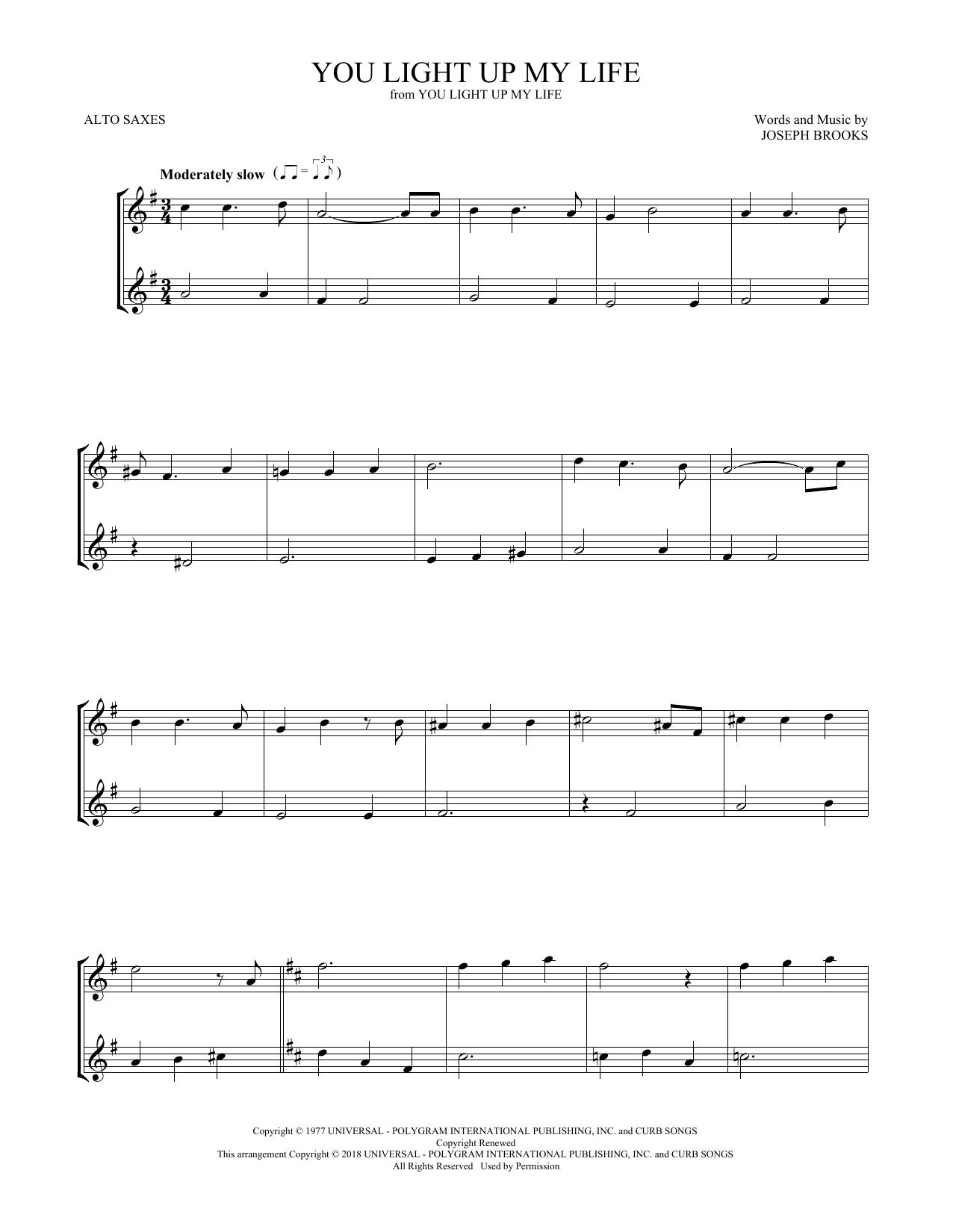 You Light Up My Life (Alto Sax Duet)