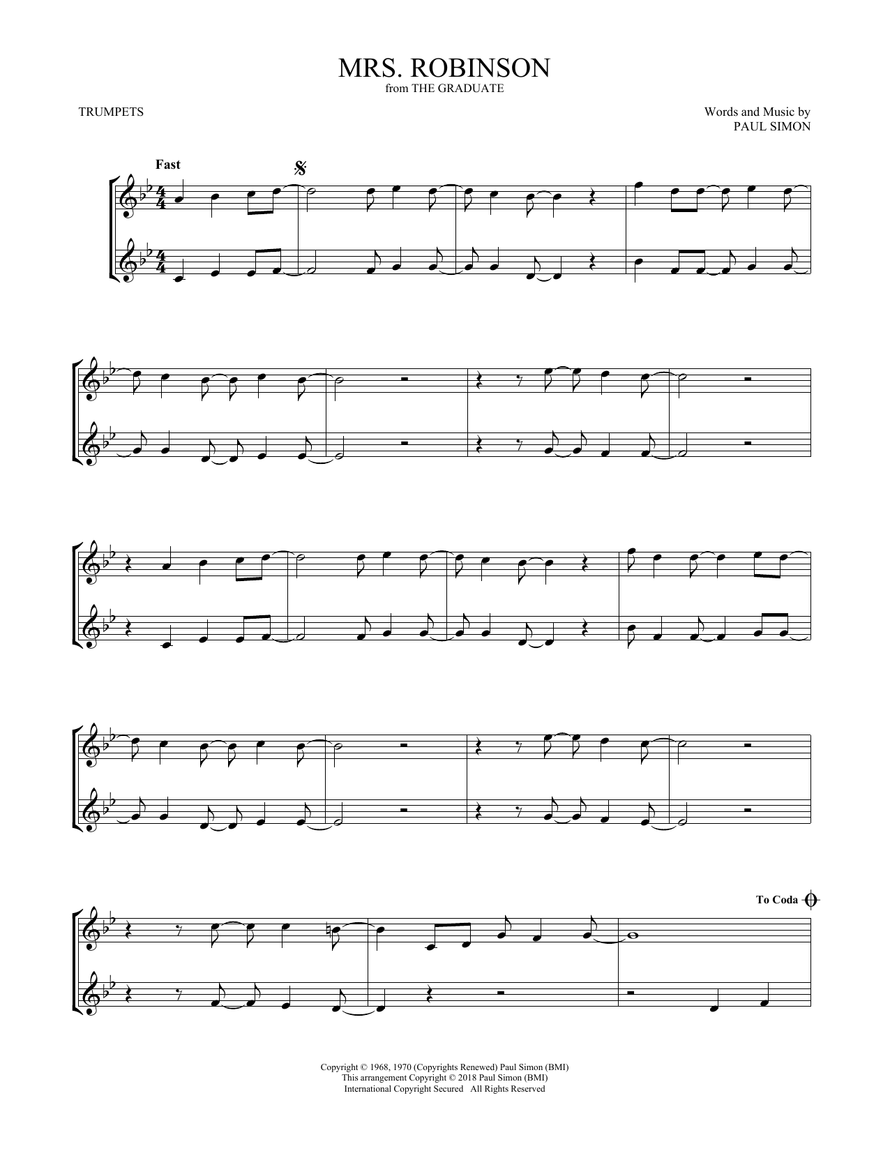 Mrs. Robinson (Trumpet Duet)