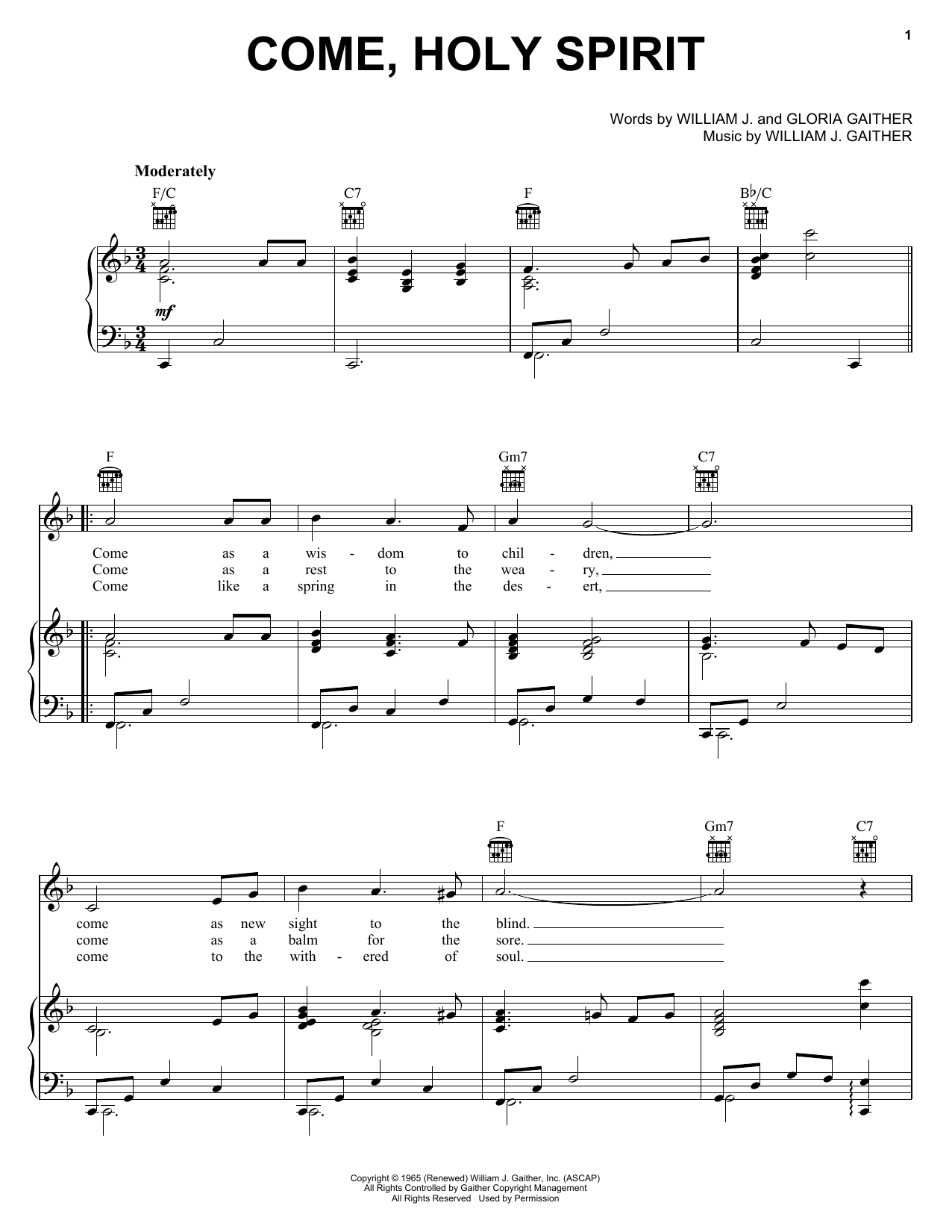 Come, Holy Spirit (Piano, Vocal & Guitar (Right-Hand Melody))