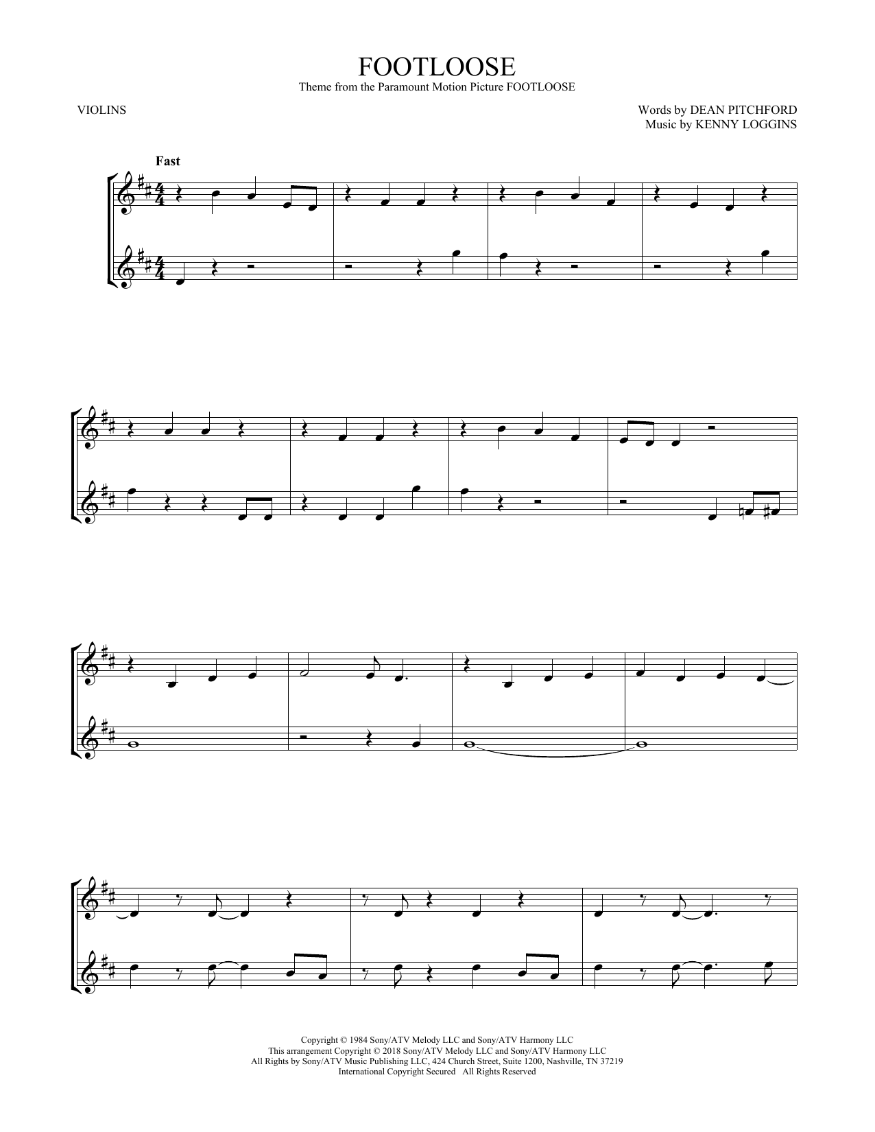 Footloose (Violin Duet)