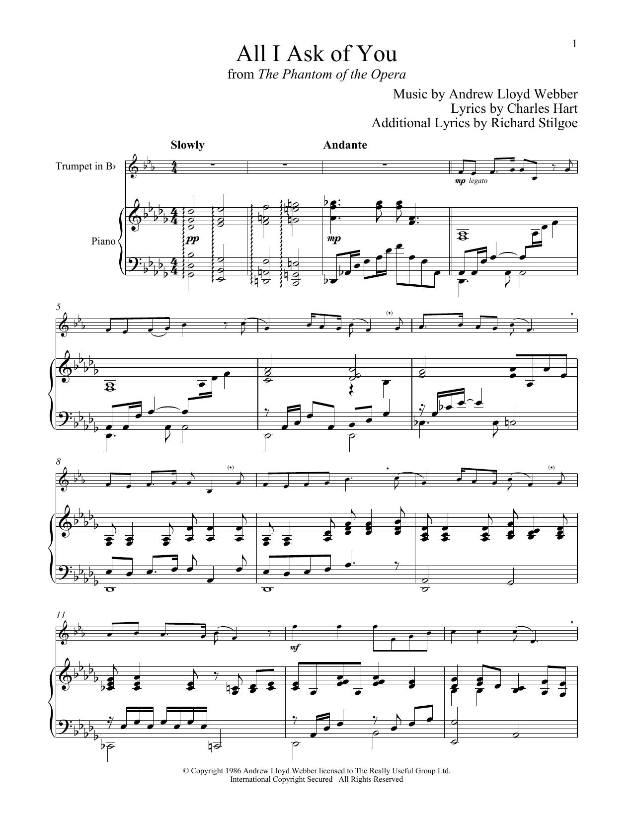 All I Ask Of You (from The Phantom of The Opera) (Trumpet and Piano)