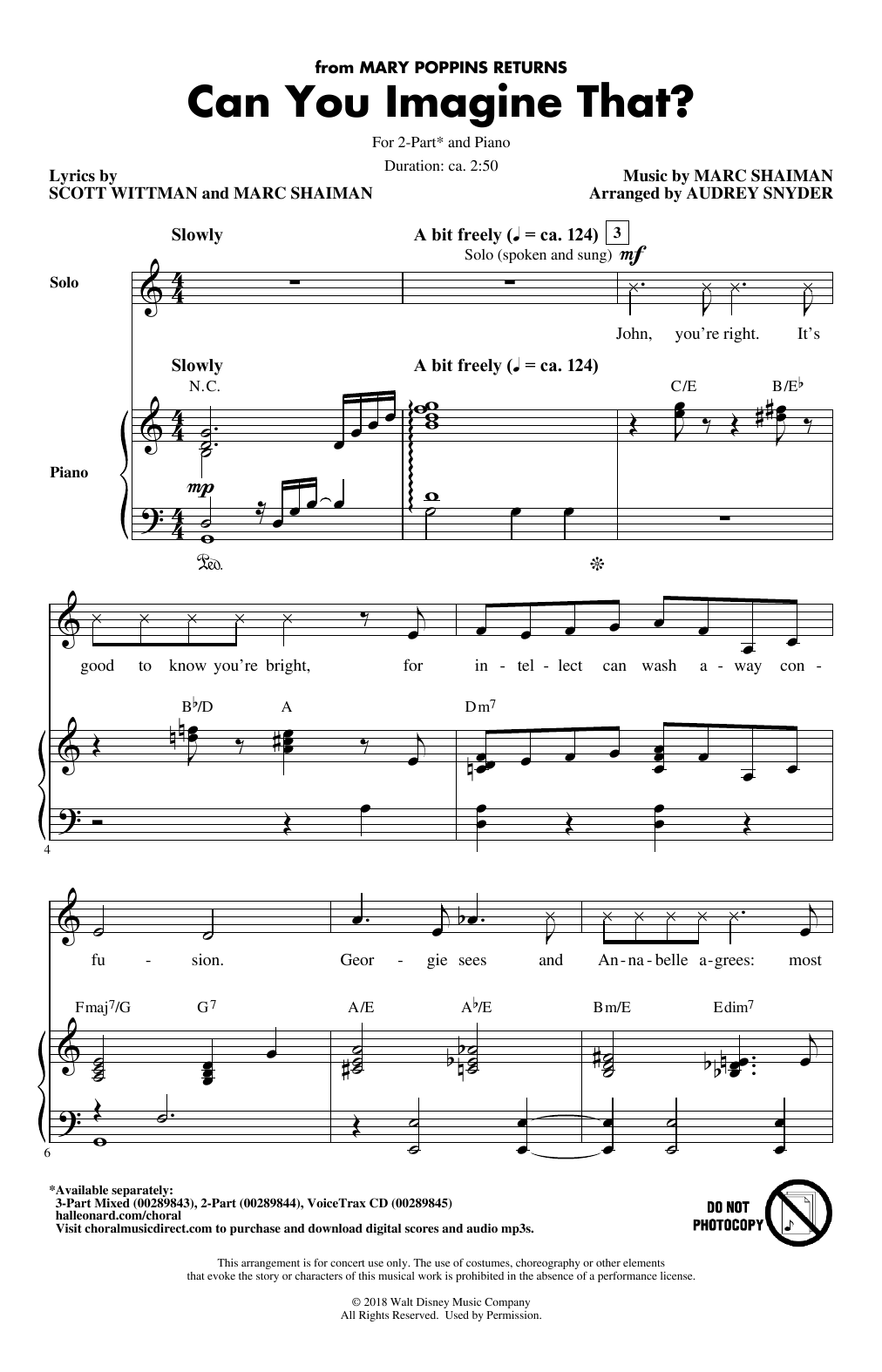 Can You Imagine That? (from Mary Poppins Returns) (arr. Audrey Snyder) (2-Part Choir)