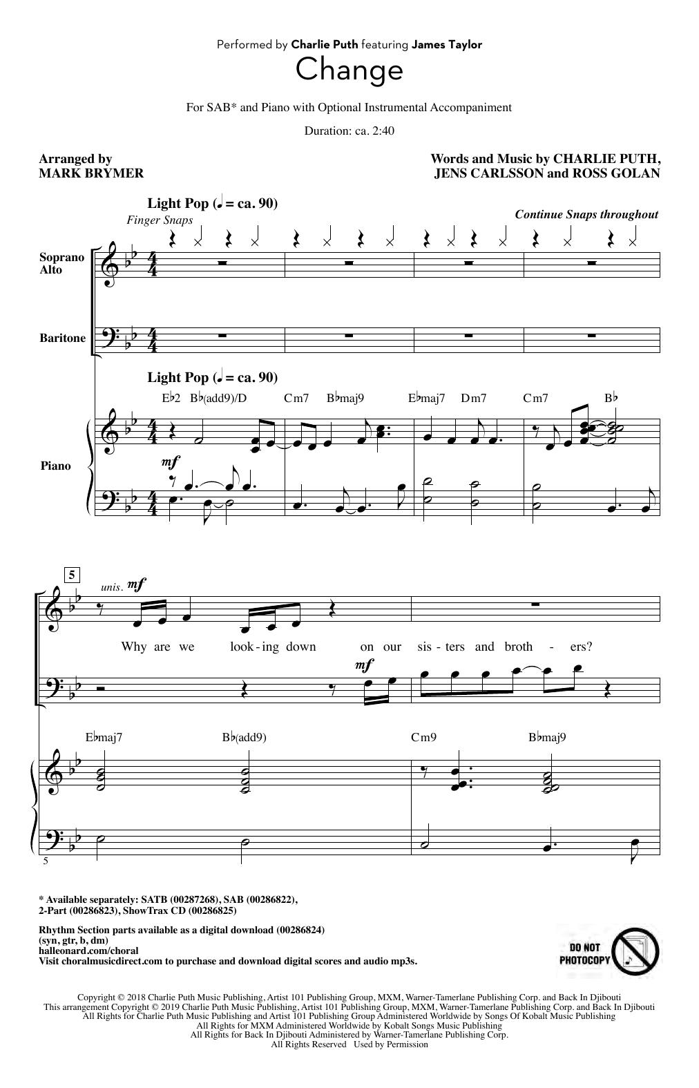 Change (feat. James Taylor) (arr. Mark Brymer) (SAB Choir)