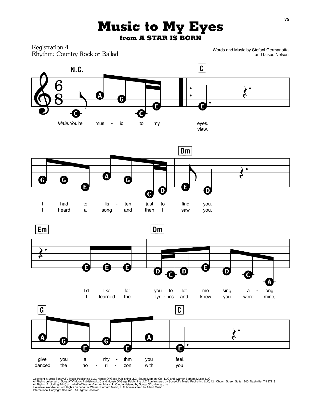 Music To My Eyes (from A Star Is Born) Sheet Music