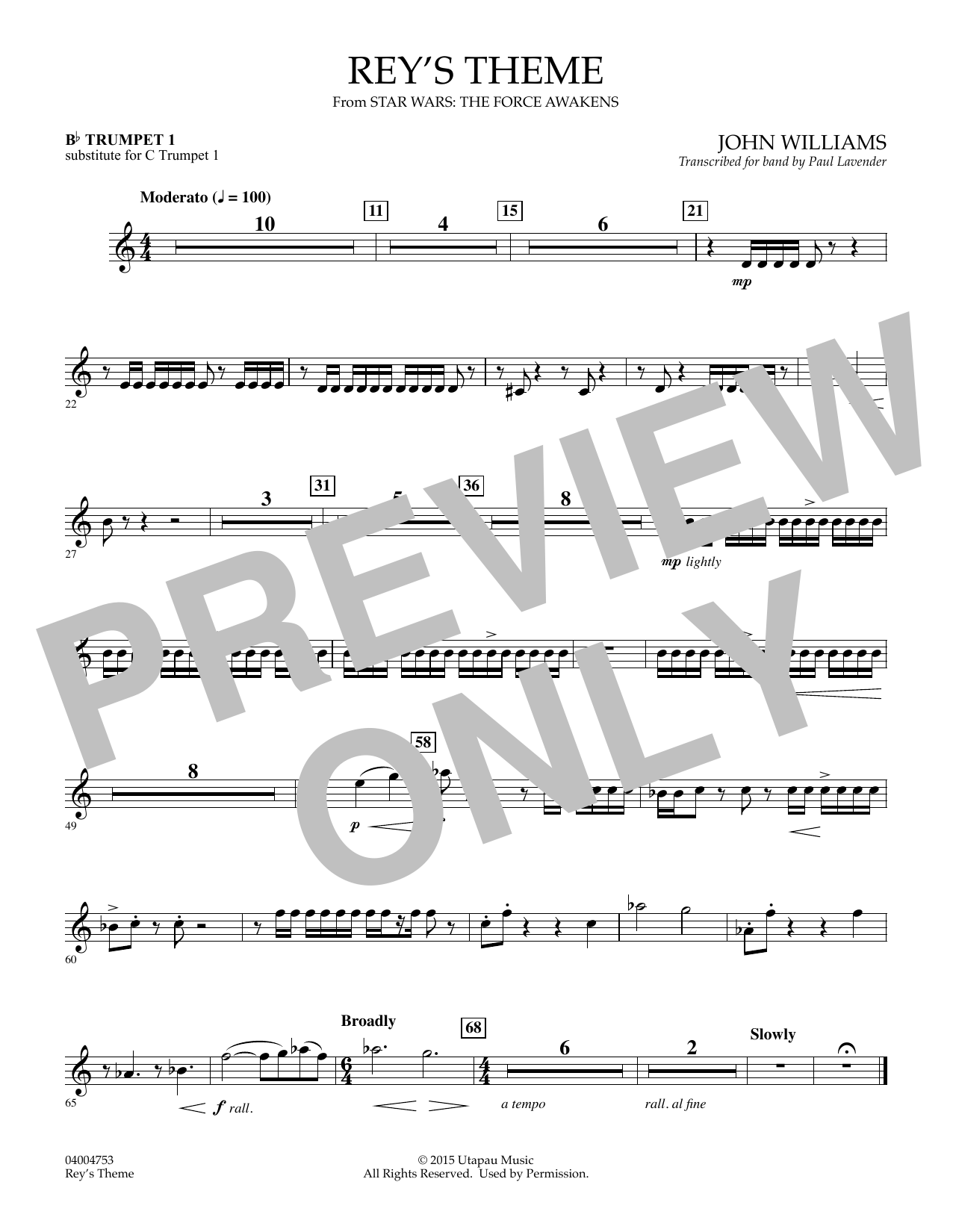 Rey's Theme (from Star Wars: The Force Awakens) - Bb Trumpet 1 (sub. C Tpt. 1) (Concert Band)