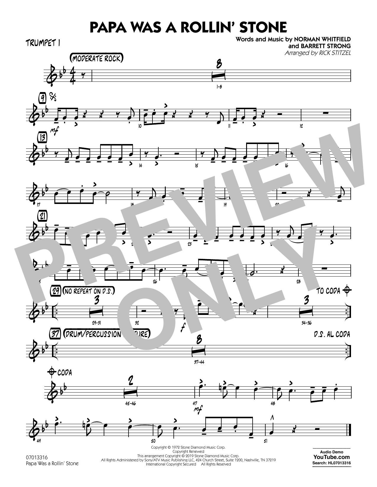 Papa Was a Rollin' Stone (arr. Rick Stitzel) - Trumpet 1 (Jazz Ensemble)
