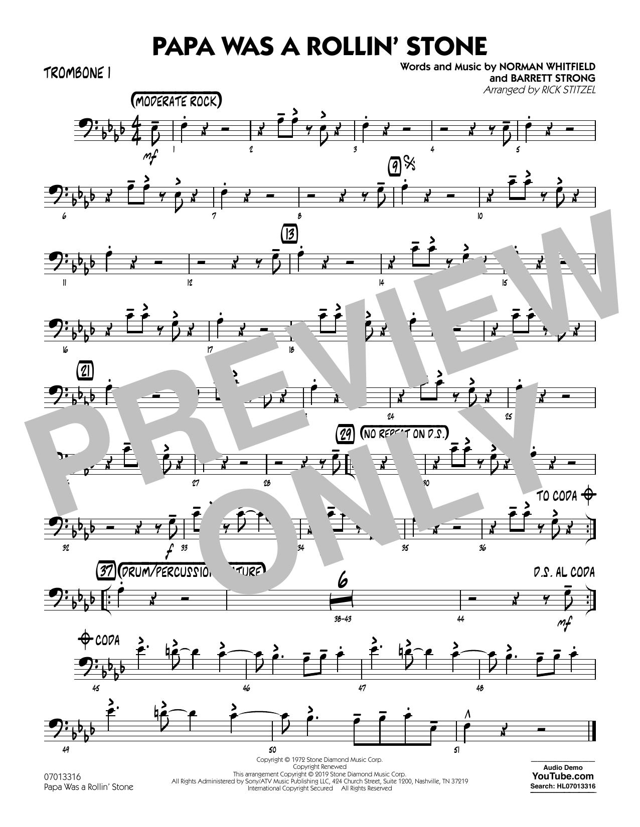Papa Was a Rollin' Stone (arr. Rick Stitzel) - Trombone 1 (Jazz Ensemble)