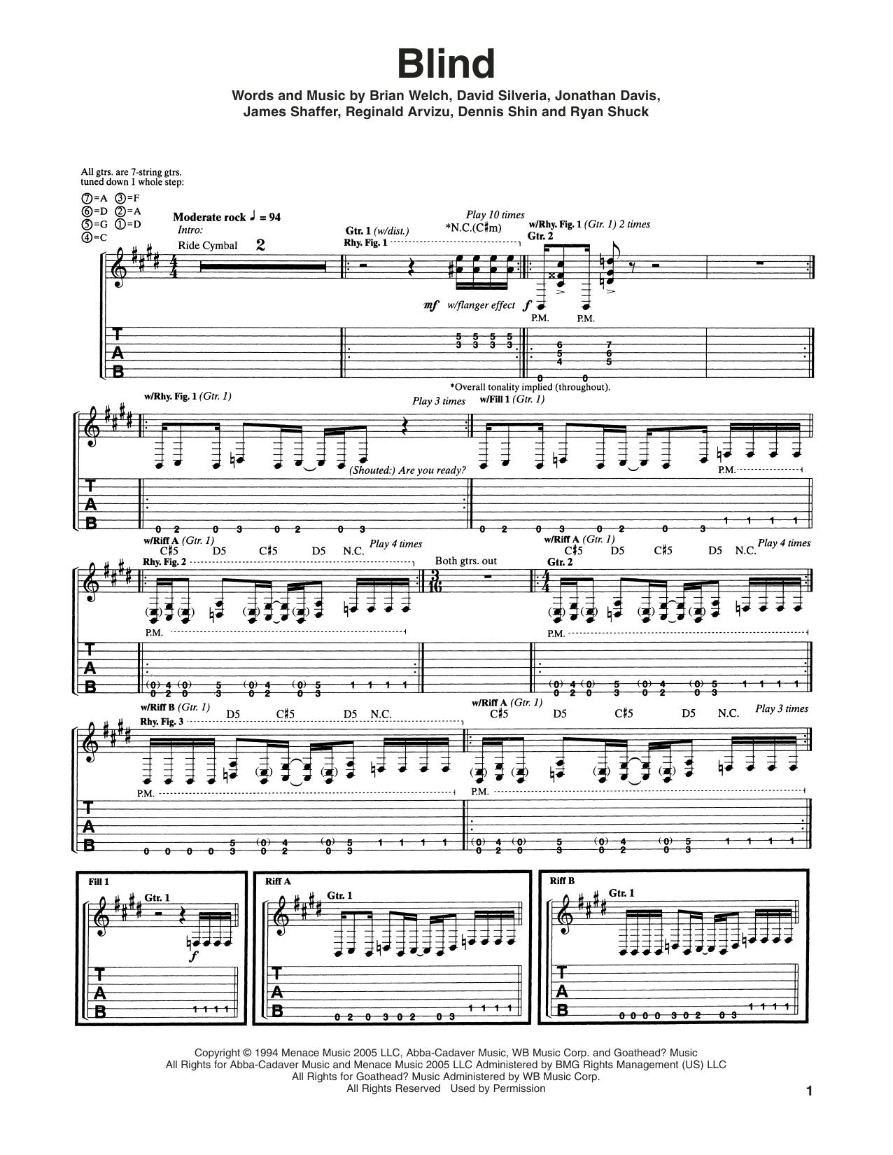 Blind guitar tab by korn guitar tab 179984 blind sheet music hexwebz Gallery