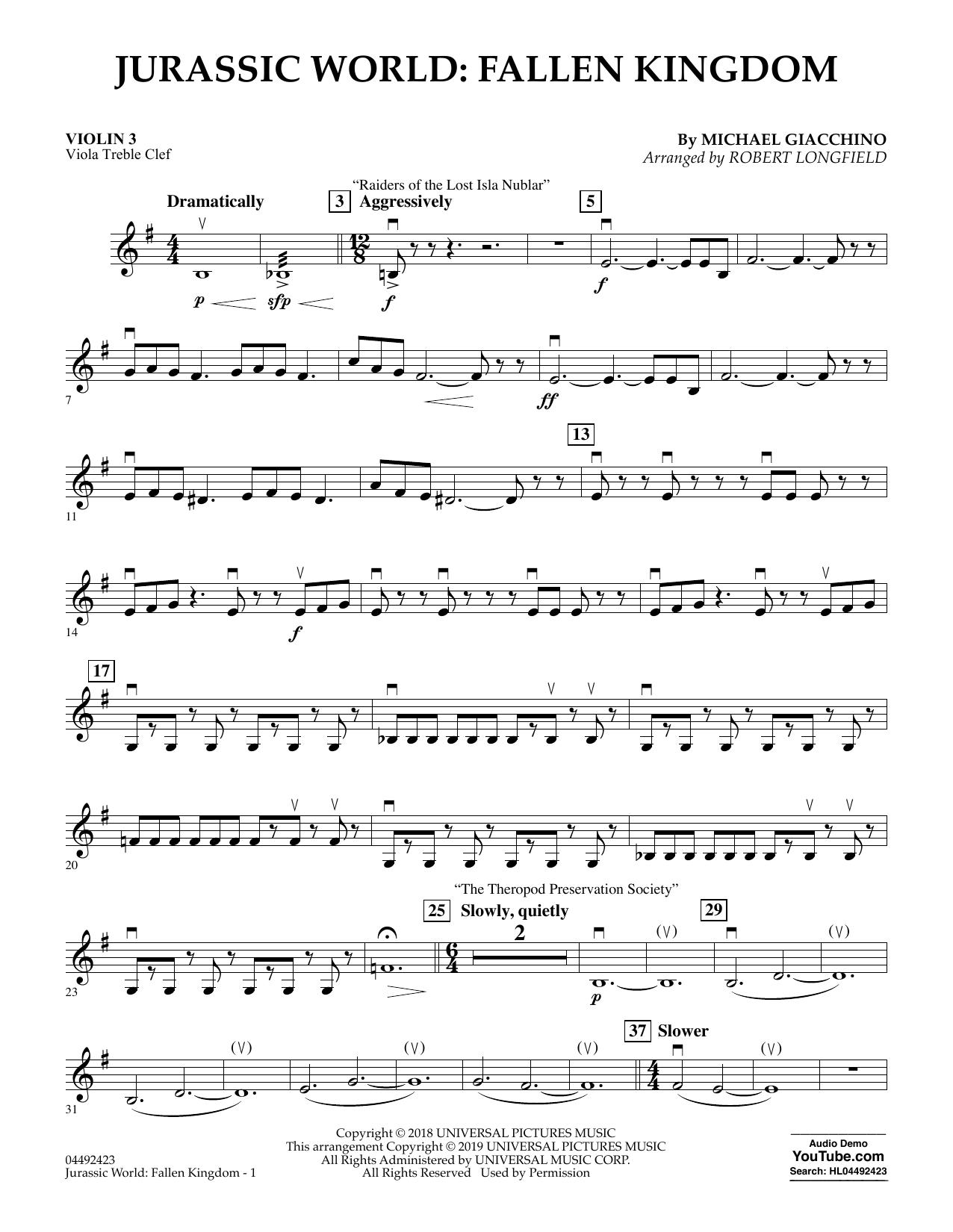 Jurassic World: Fallen Kingdom (arr. Robert Longfield) - Violin 3 (Viola Treble Clef) (Orchestra)